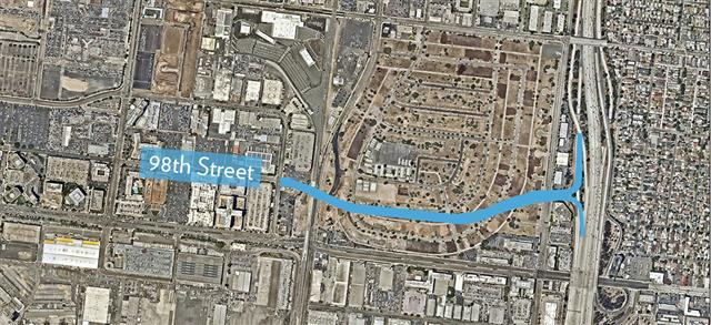 The extension of 98th Street will run from Bellanca Avenue, under the Metro rail lines and connect to the 405 Freeway.