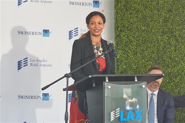 Deborah Flint, CEO of Los Angeles World Airports, speaks during today's groundbreaking event.