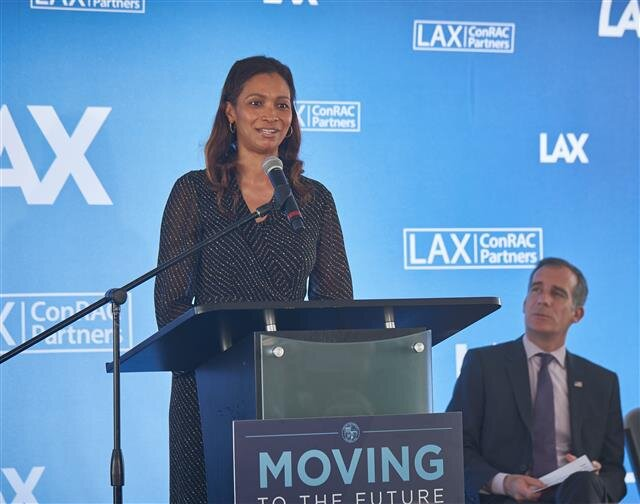 LAWA CEO Flint provides remarks during the groundbreaking.