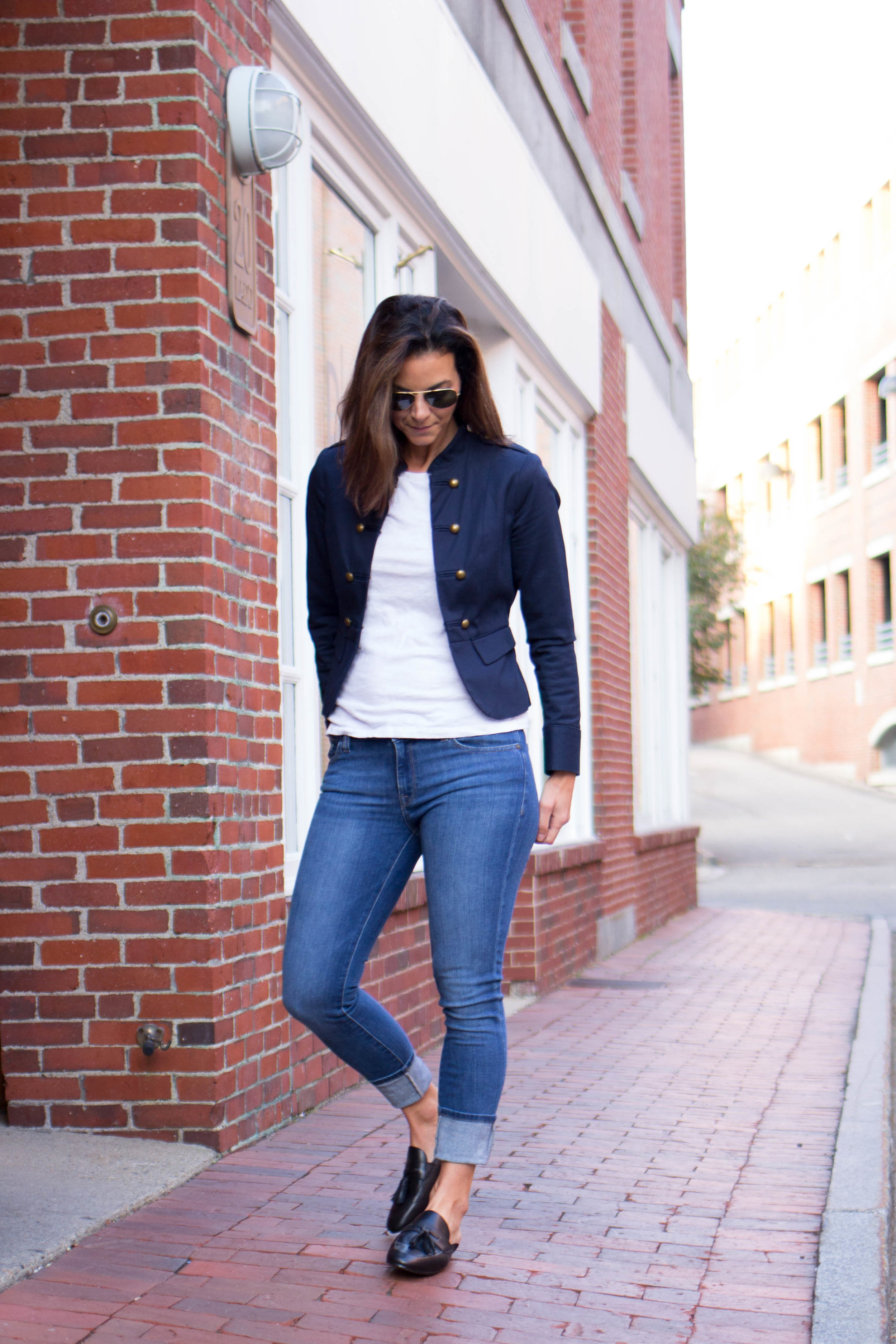 Fall  Outfits – Military Jacket Outfit – Spring Outfit – Casual Outfits – Casual Friday Outfit – Weekend Outfits - Fashion for Women – Tassle Loafer Mules -  heartandseam.com  #heartandseam #militaryjacket