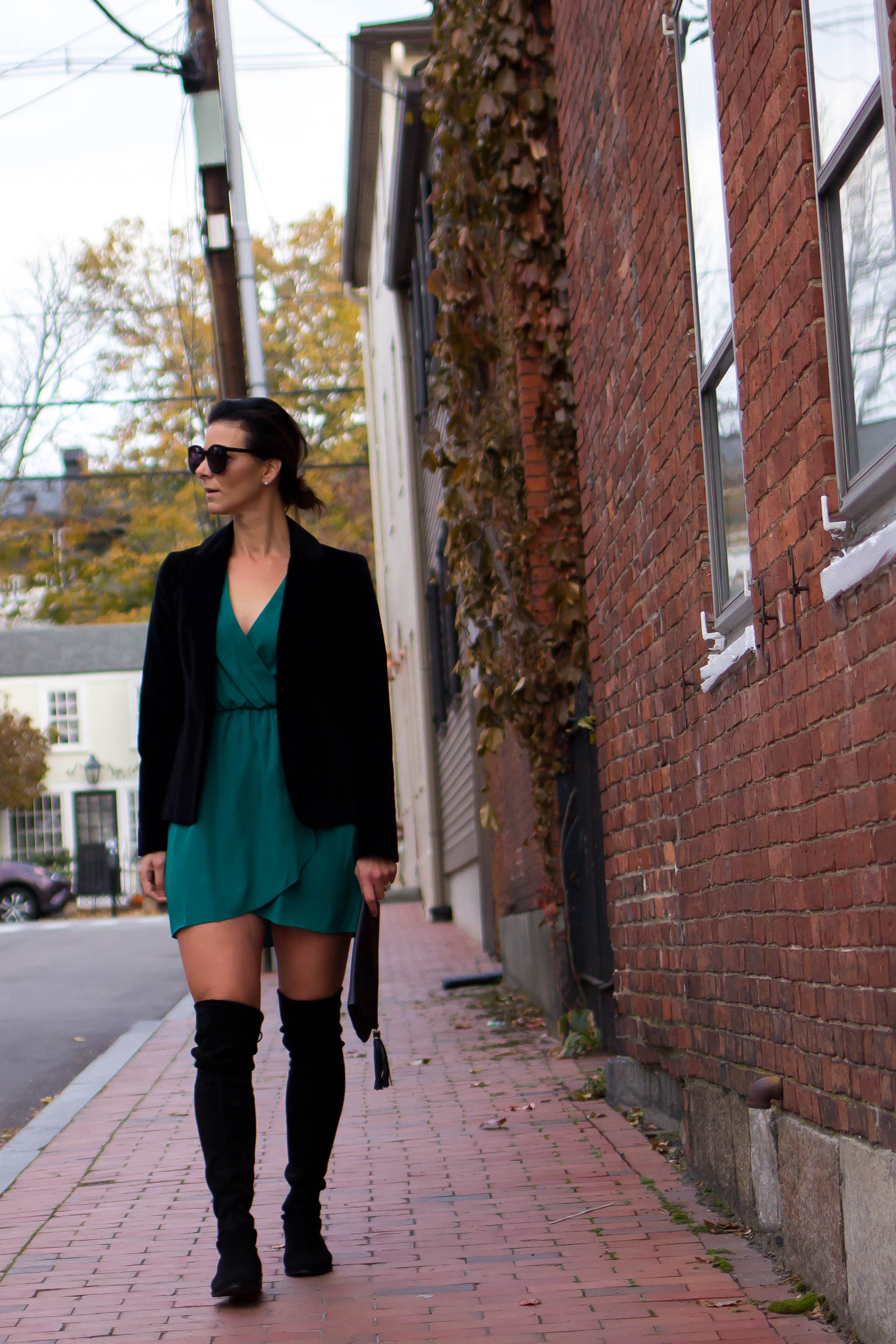 Holiday Outfits - Teal Dress Outfits – OTK Boots Outfits – Street Style Outfits - Cocktail Party Outfits - Dress Outfits - Fashion for Women – Holiday Party Outfits - Black Velvet Blazer Outfits – Date Night Outfits –  heartandseam.com  #heartandseam #otkboots