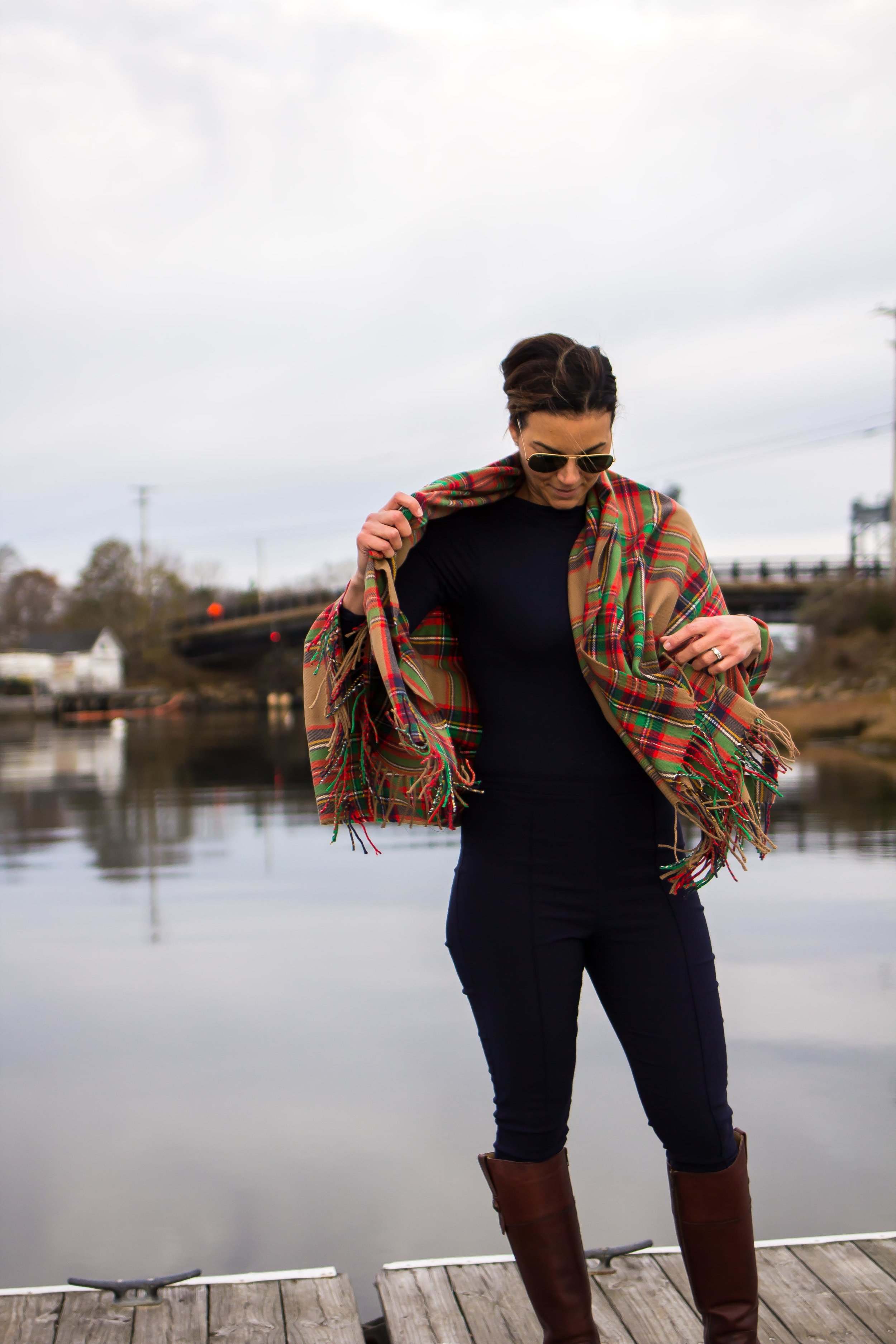 Fall Outfits – Winter Outfits - Plaid Outfit Ideas- Blanket Scarf Outfit – Casual Outfits – Frye Boots Outfit – Fashion for Women –  heartandseam.com  #heartandseam #fryeboots
