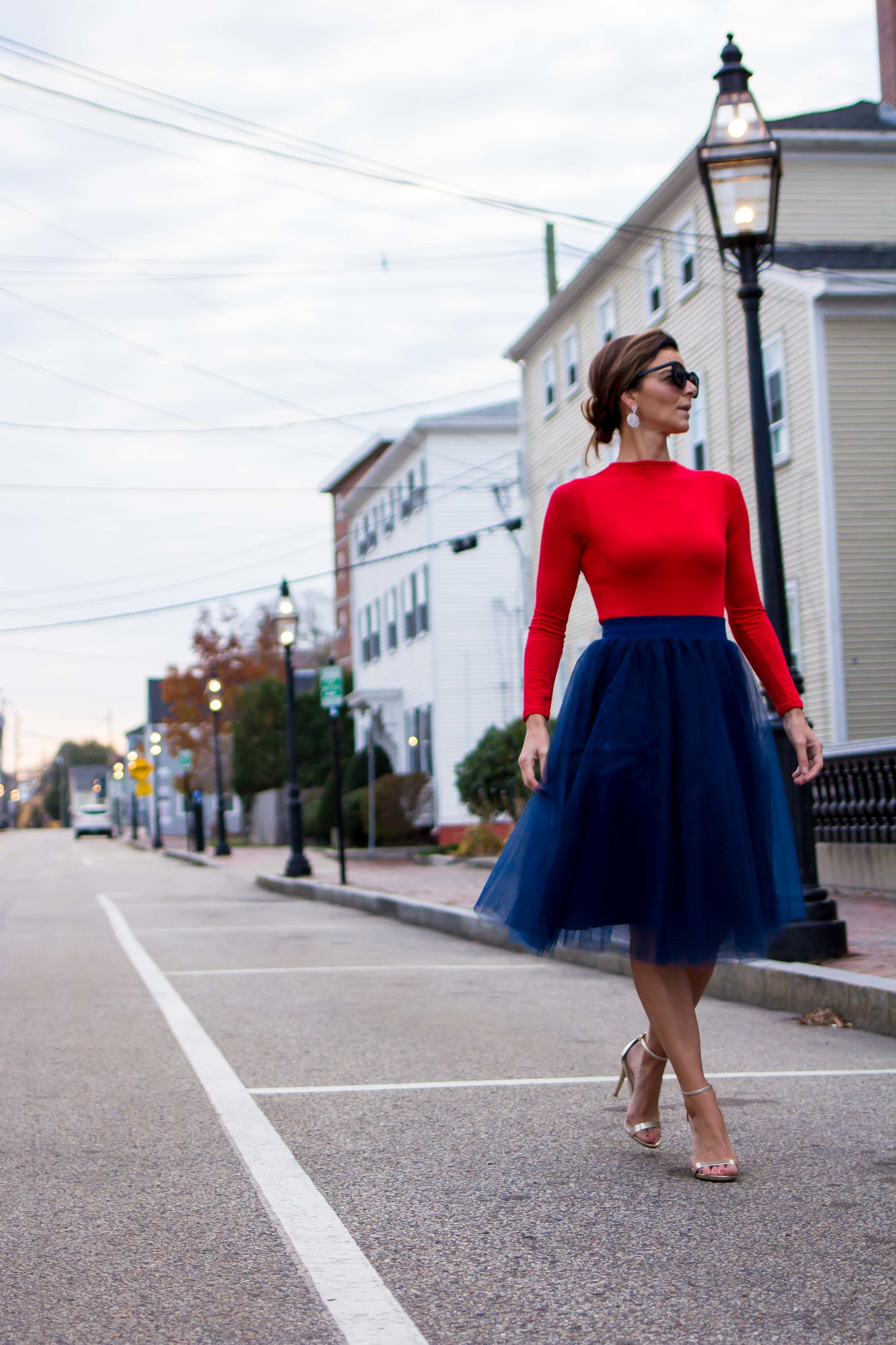 Formal Outfits – Holiday Outfits – Navy Tulle Skirt Outfits – Tulle Skirt Outfits – Fashion for Women – Holiday Party Outfits - Red Top Outfits - Wedding Outfits –  heartandseam.com  #heartandseam