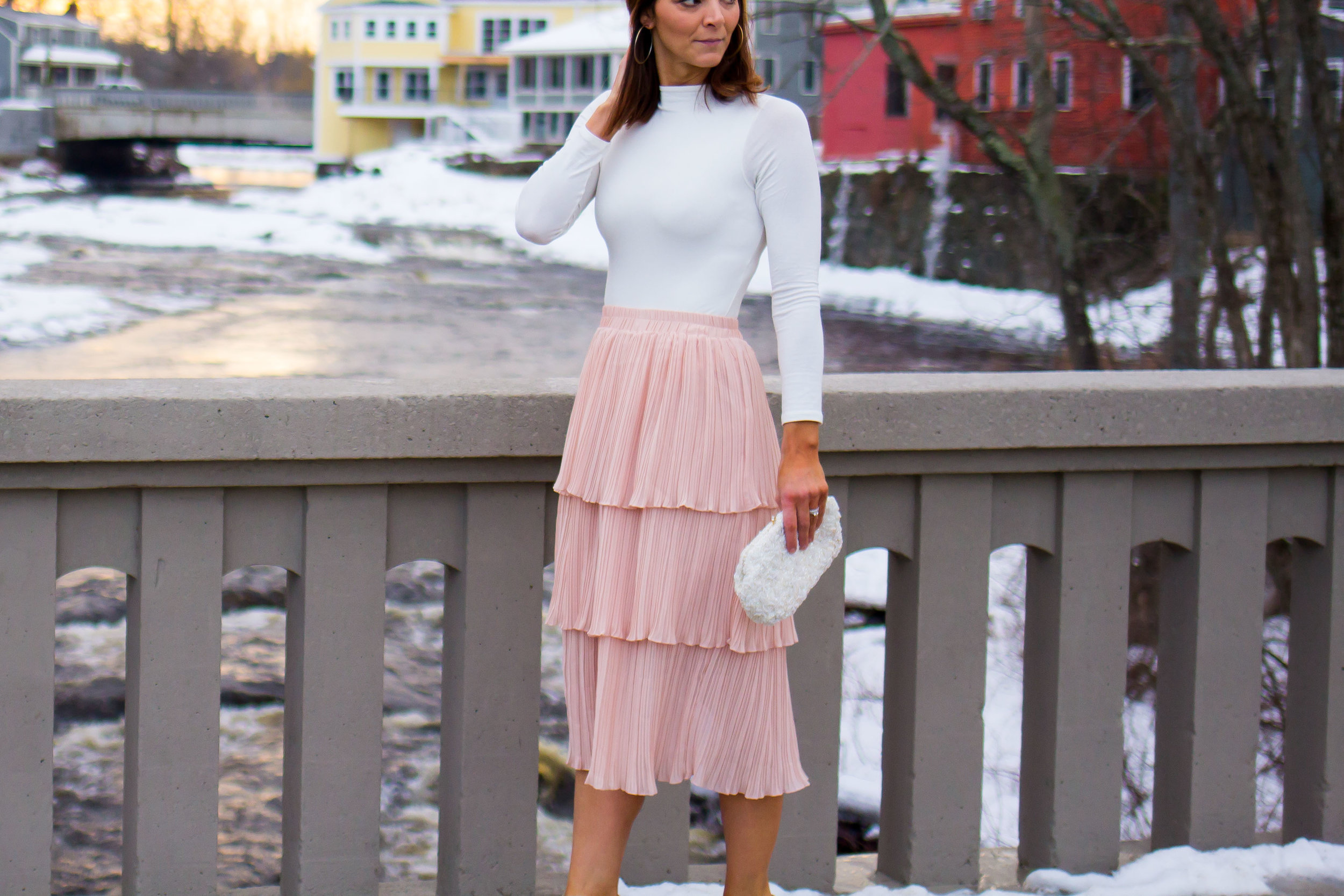 Midi Skirt Outfits - Tiered Skirt Outfits -Ruffle Midi Skirt Outfits - Nude Skirt Outfits - Blush Skirt Outfits -Fashion for Women -  heartandseam.com  #heartandseam