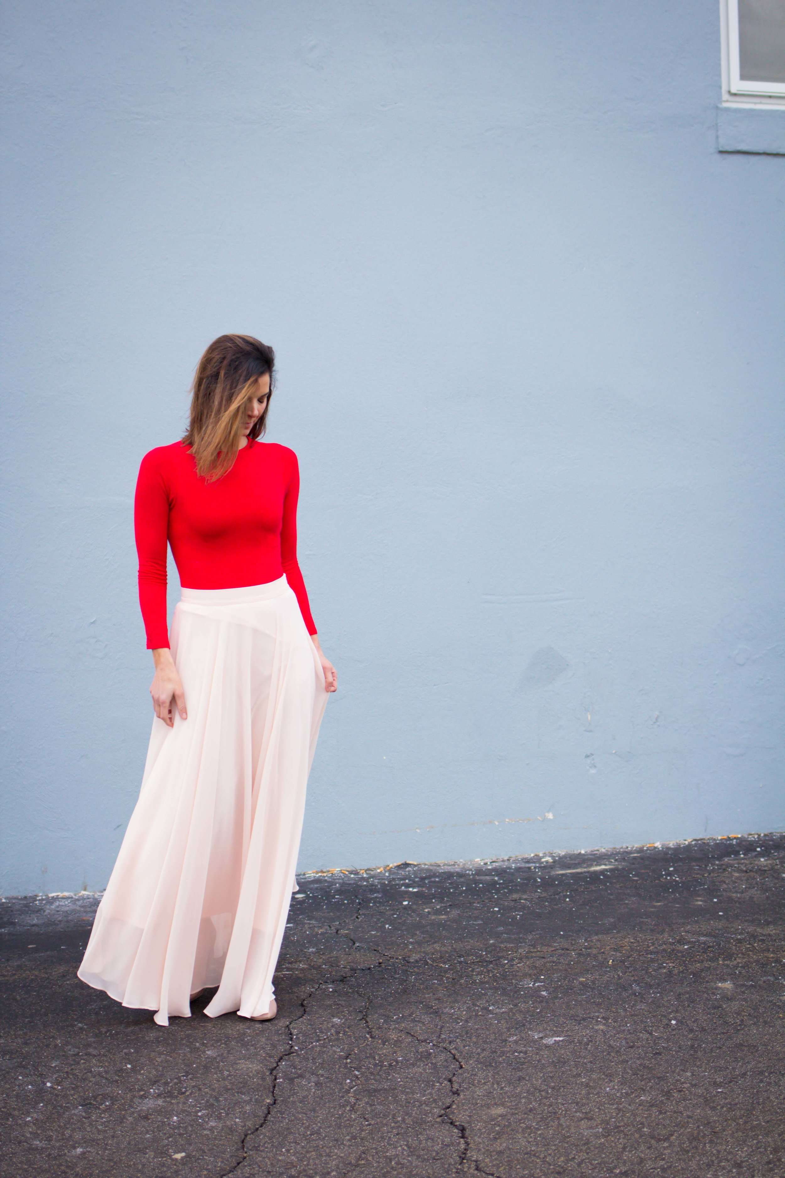 Date Night Outfits - Valentine's Day Outfits - Pink and Red Outfits-Fashion for Women - Maxi Skirt Outfits  heartandseam.com  #heartandseam