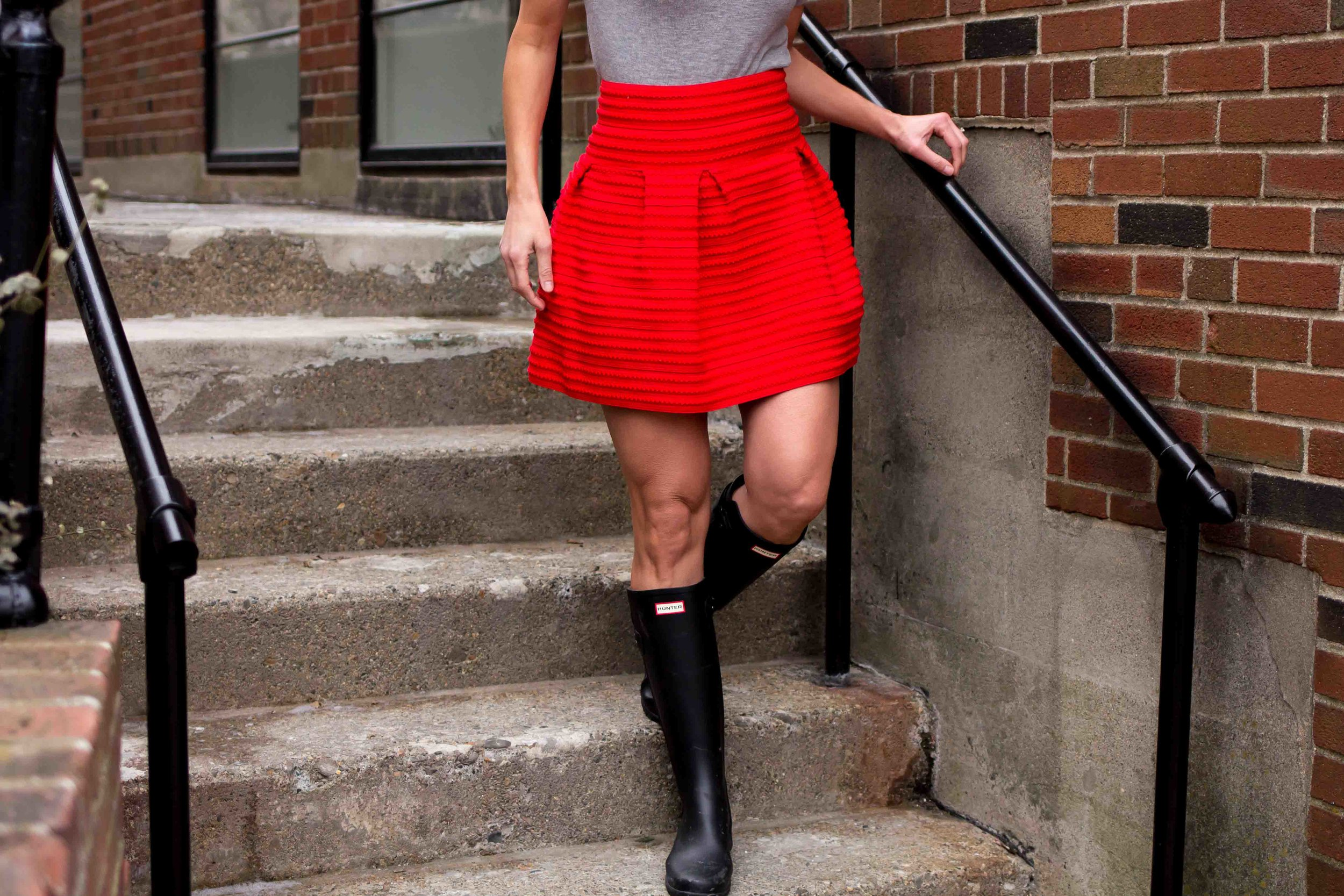 Valentines Day Outfits - Date Night Outfits - Fashion for Women - Hunter Boots Outfit - Red skirt Outfit - Style Outfits - Fashion Ideas  heartandseam.com  #heartandseam