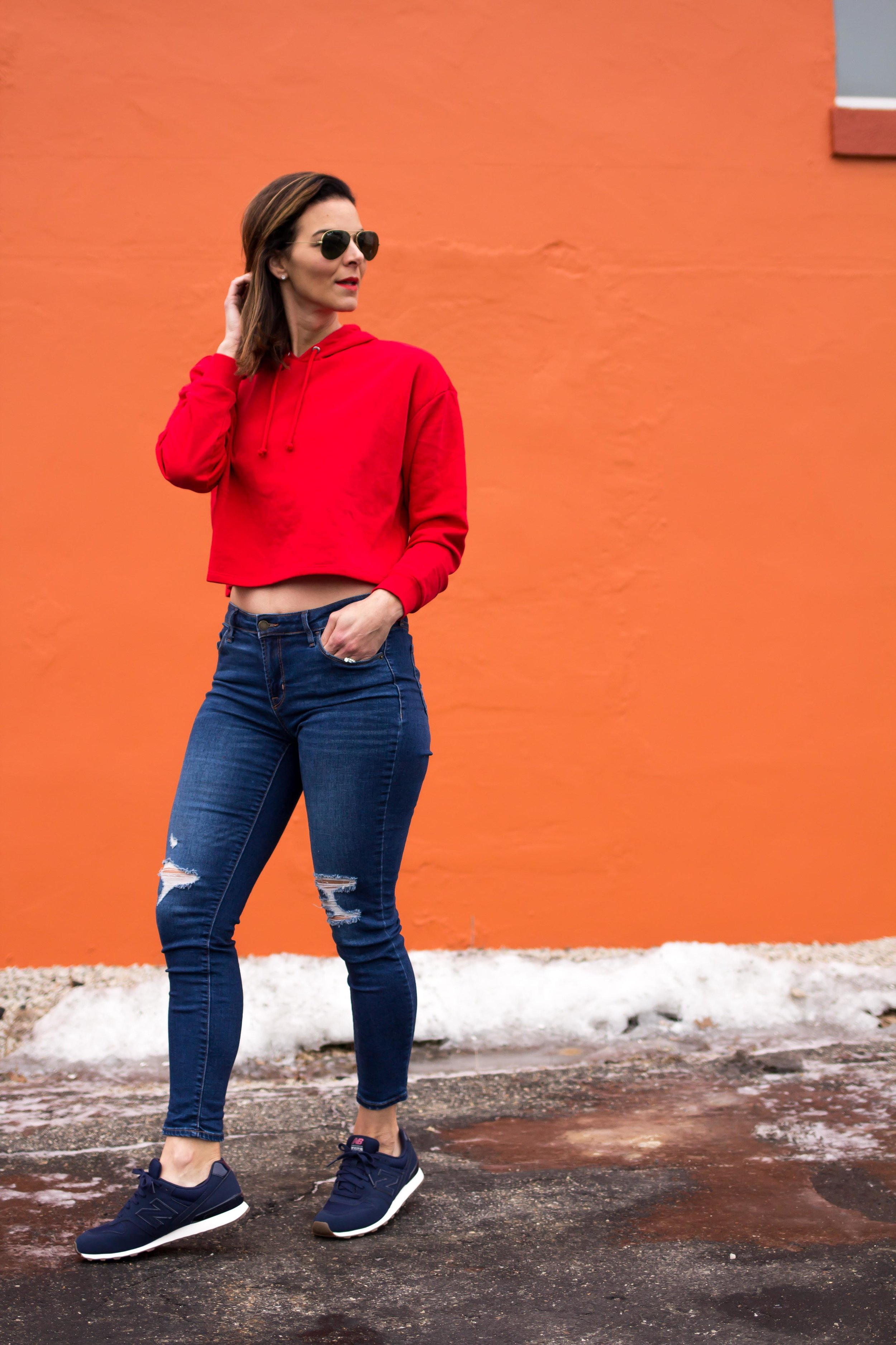 Casual Friday Outfits – Weekend Outfits – Fashion for Women – Cropped Hoodie Outfits – Weekend Wear –  heartandseam.com  #heartandseam