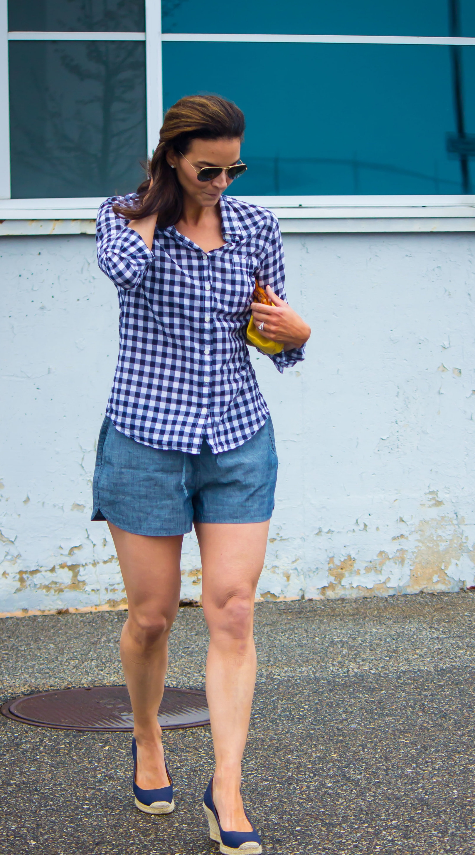 Casual Friday Outfits – Weekend Outfits – Summer Outfits – Spring Outfits – Gingham Shirt Outfits – Gingham Outfits – Fashion for Women –Chambray Shorts Outfits – Espadrille Outfits -  heartandseam.com #heartandseam #gingham