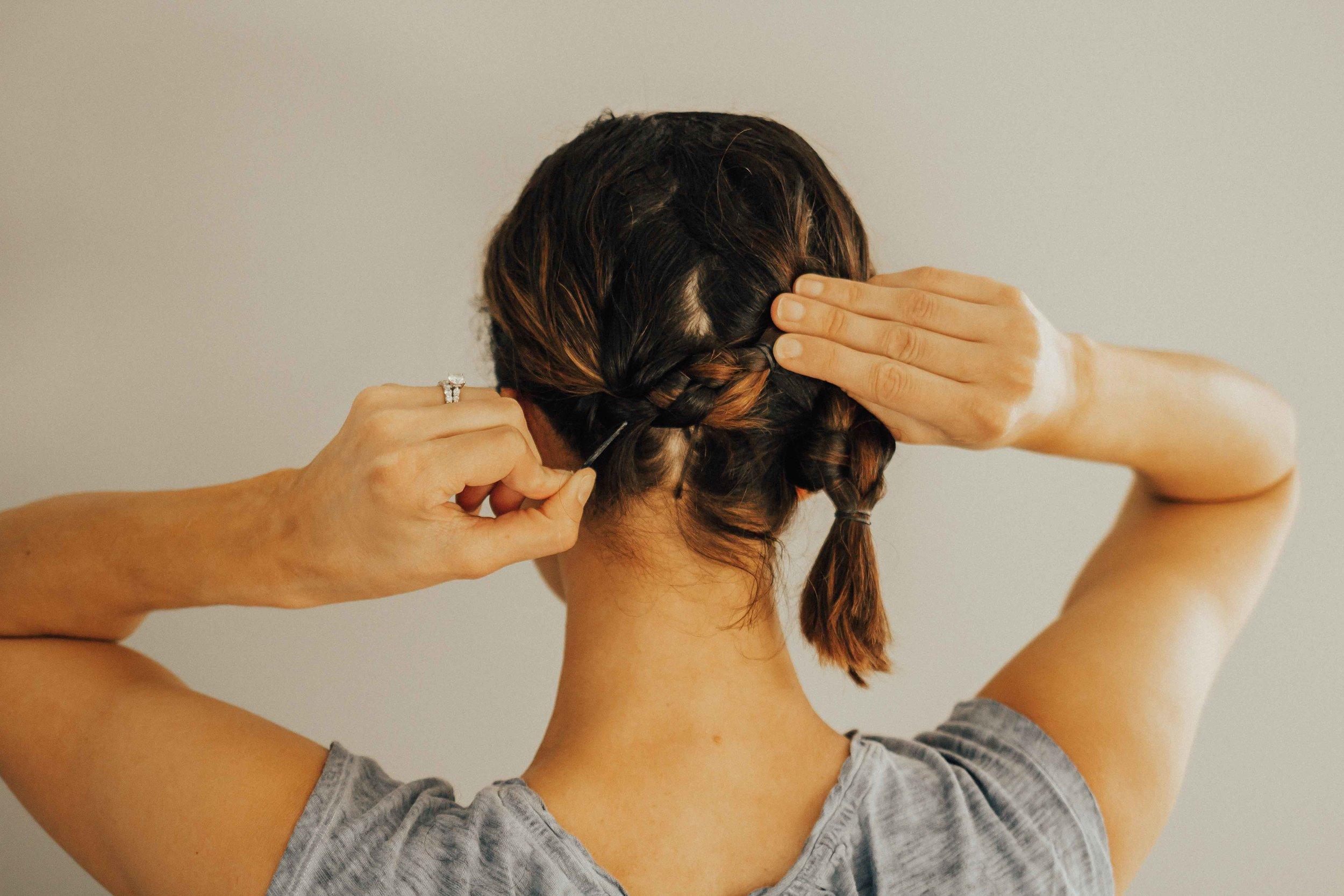 Hair Tutorial - Braided Updo Tutorial - Braided Crown Tutorial - Virtue Haircare - Bob Hair Tutorial -  www.heartandseam.com  #heartandseam