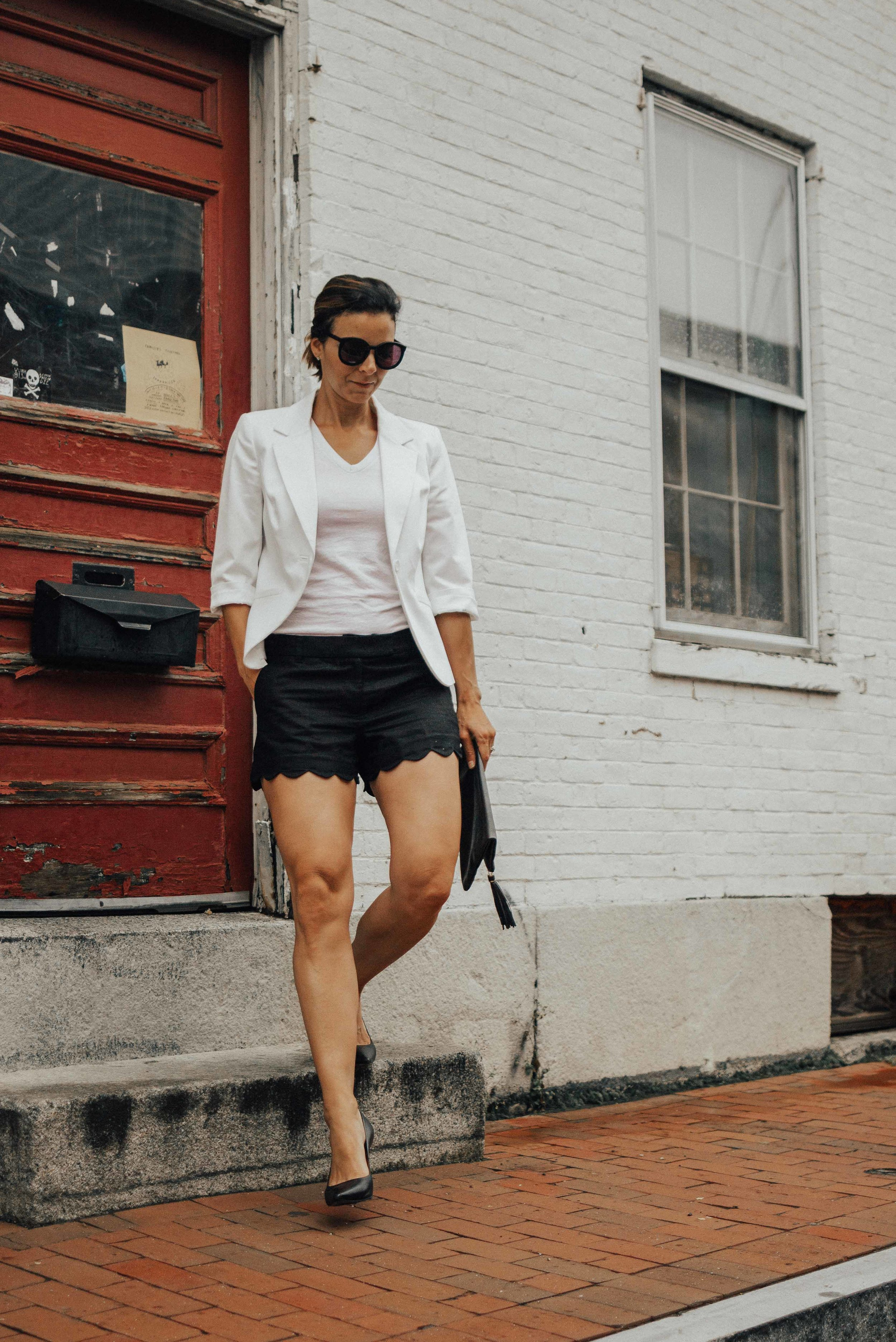 Basic White Tee Outfits – How to Style a Basic White Tee – 10 Ways to Dress Up a Basic White Tee Shirt - Black and White Outfit Ideas – White T-Shirt Outfits – White Tee Outfit Ideas – Summer Outfits – White Tee Outfit Ideas – Dressy White Tee – Summer Style - #whitetee #heartandseam  www.heartandseam.com