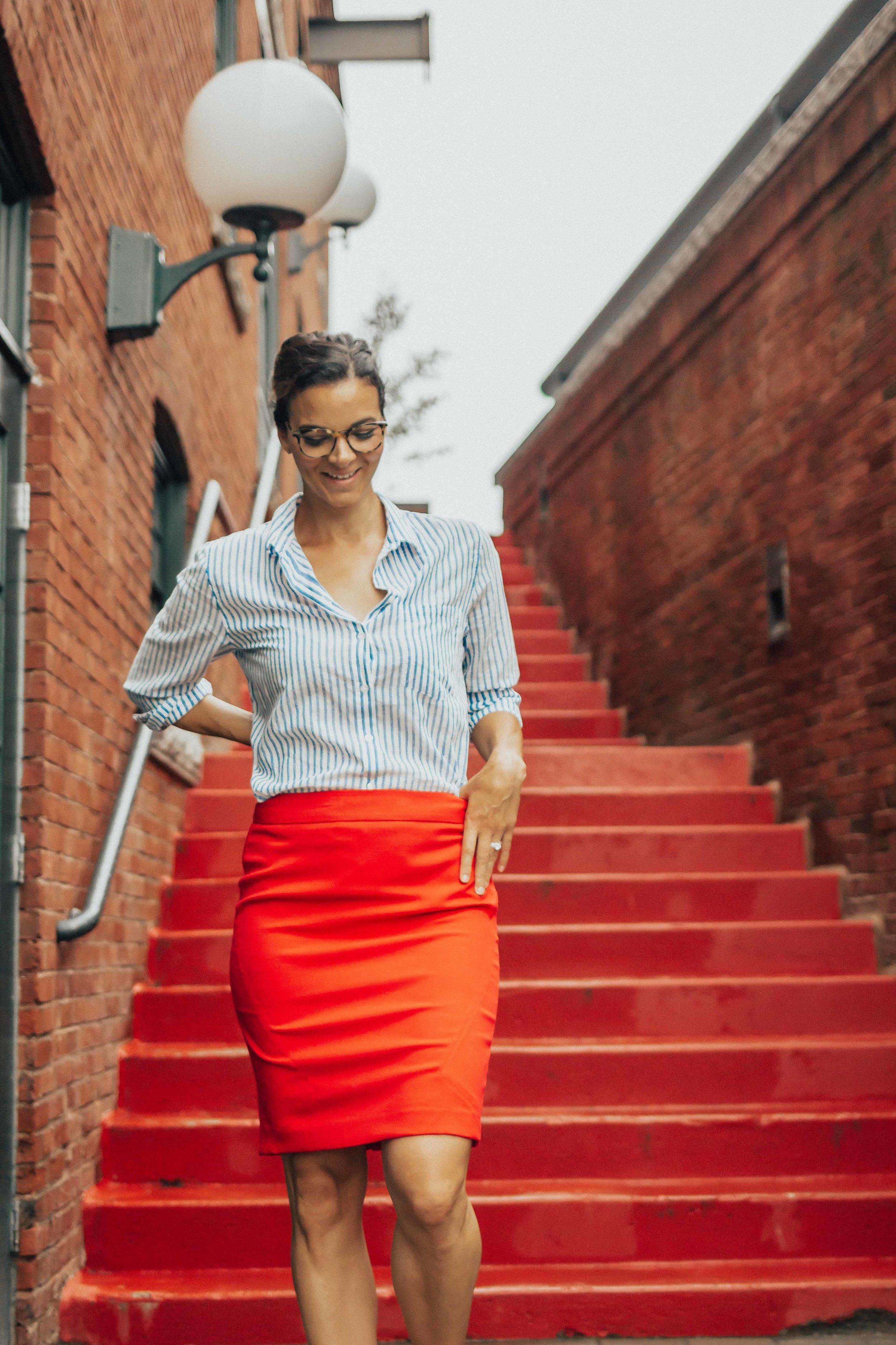 OUTFIT DETAILS - RED PENCIL SKIRT (similar here& here)STRIPED BUTTON-DOWN (under $20)NUDE HEELSGLASSES