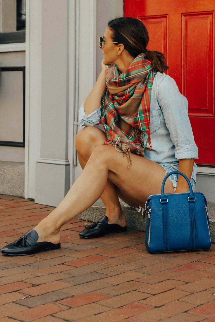 Plaid Scarf Outfit Fall | Plaid Scarf Outfit | Fall Outfits | Blue Bag Outfit | Handbag Trends 2018 | Fall Outfits Ideas | Blanket Scarf Outfits | Fall Outfit Ideas | Fall Fashion | Fall Trends #falltrends #heartandseam www.heartandseam.com