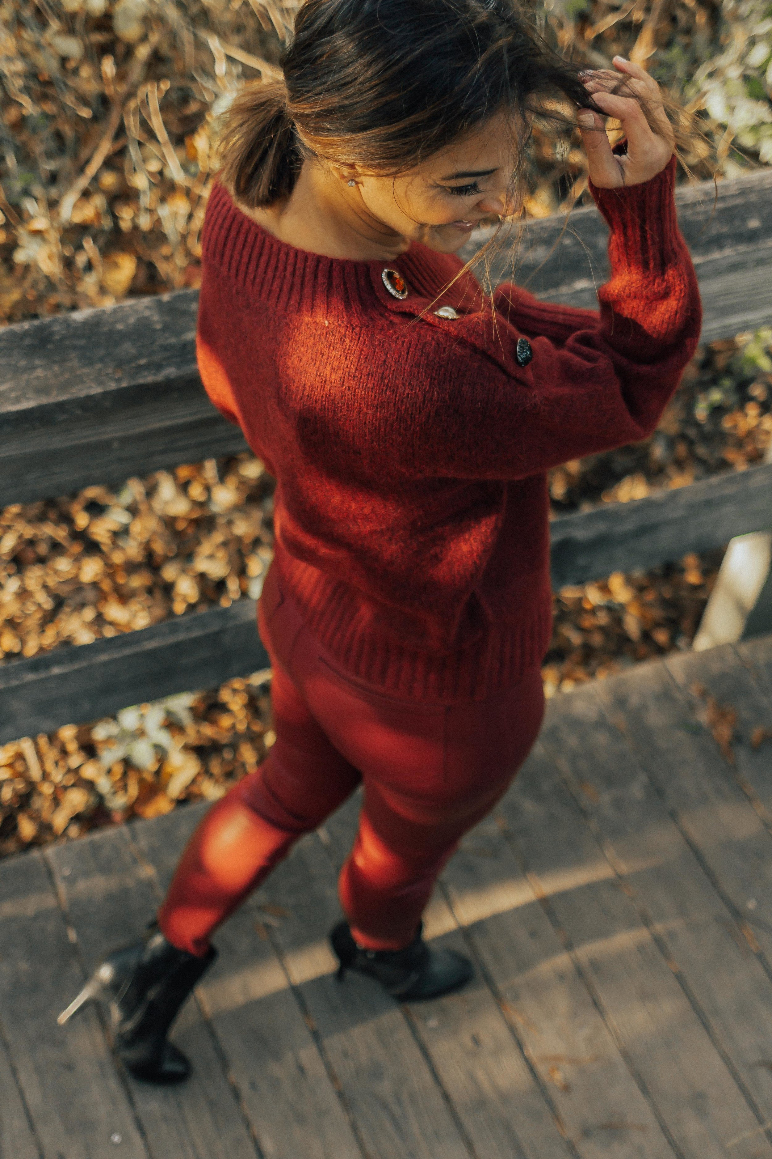 OUTFIT DETAILS - SWEATER (similar and under $100)BURGUNDY PANTS (similar)BLACK BOOTIES