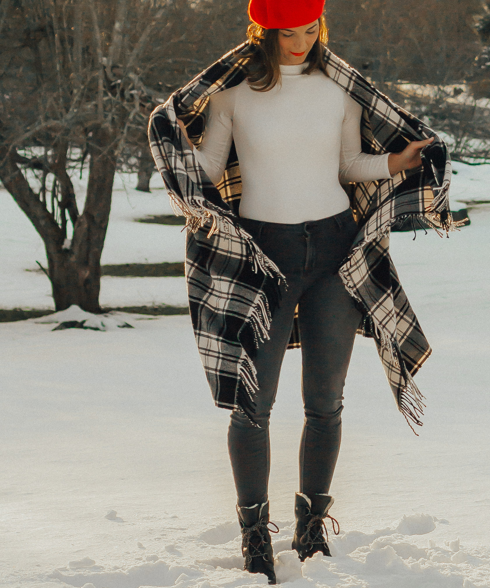 SHOP THE LOOK - RED BERETWHITE BODYSUIT (similar)GREY DENIMBLANKET SCARFWEDGE BOOTS