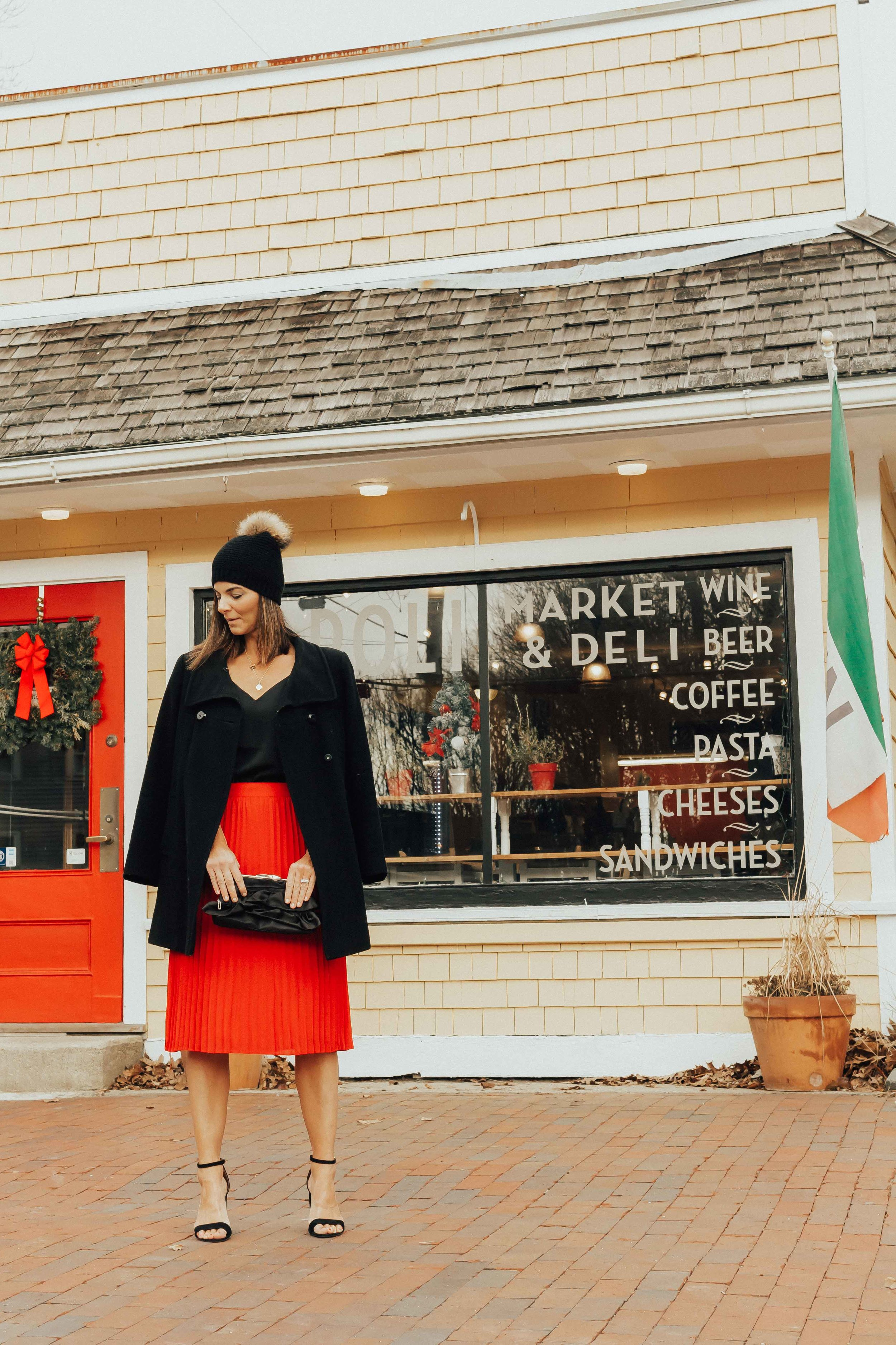 Red Pleated Midi Skirt Outfit