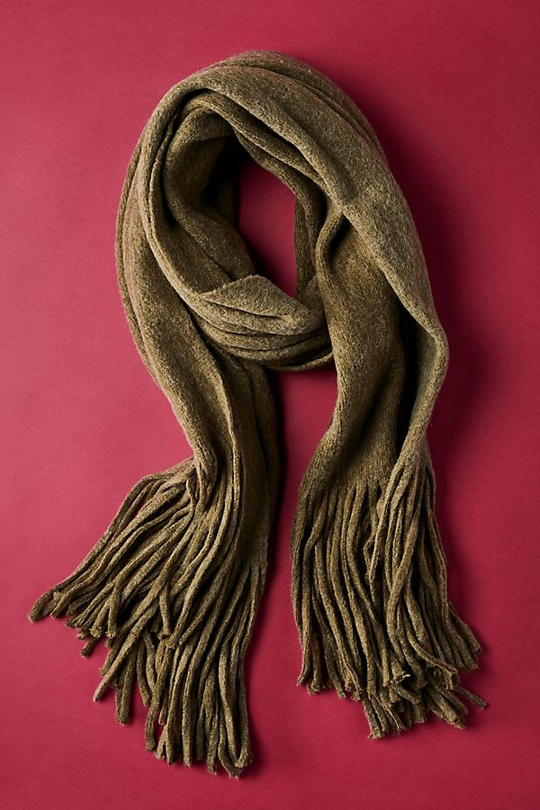 BLANKET SCARF - The olive tone on this blanket scarf is gorgeous. I love the fringe detailing as well.