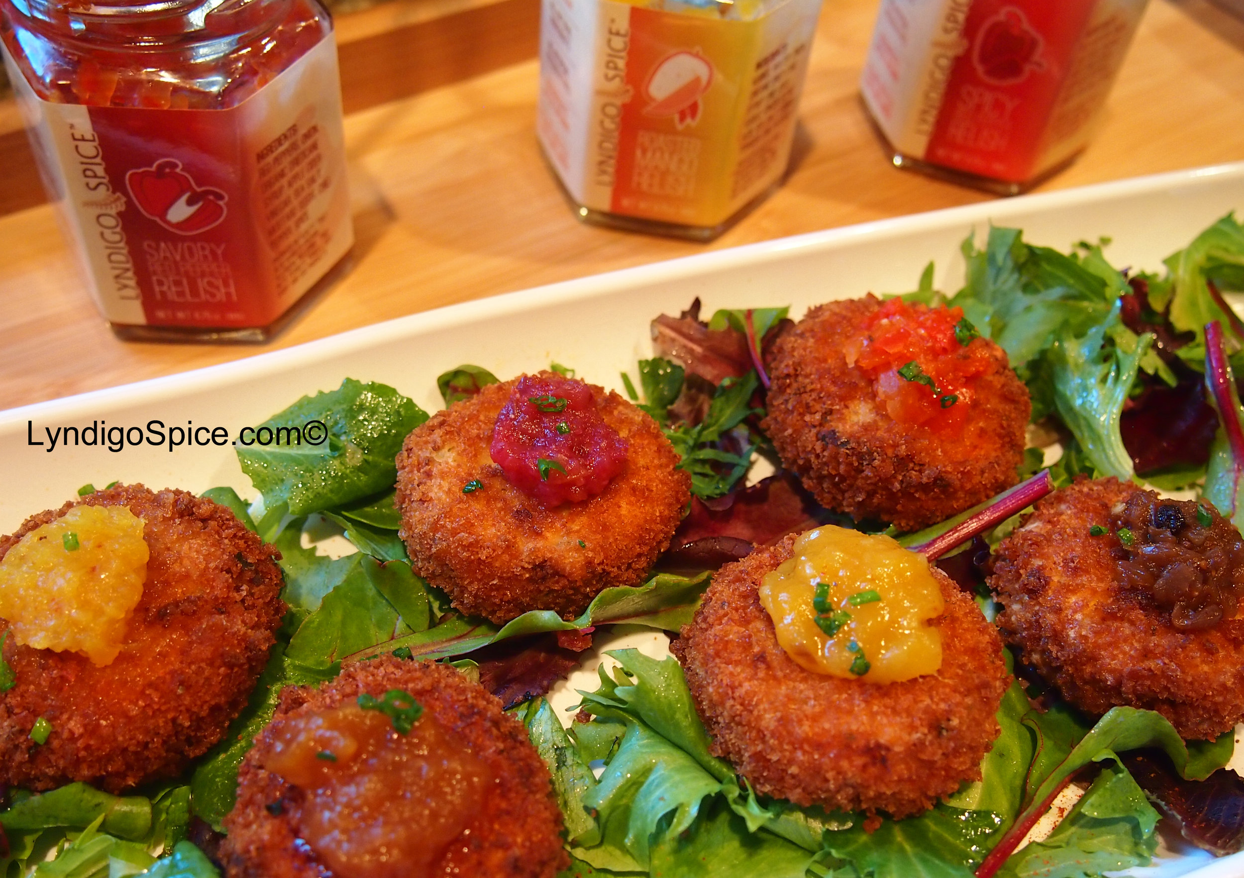 Salmon Cakes with Lyndigo Spice® chutneys and relishes.