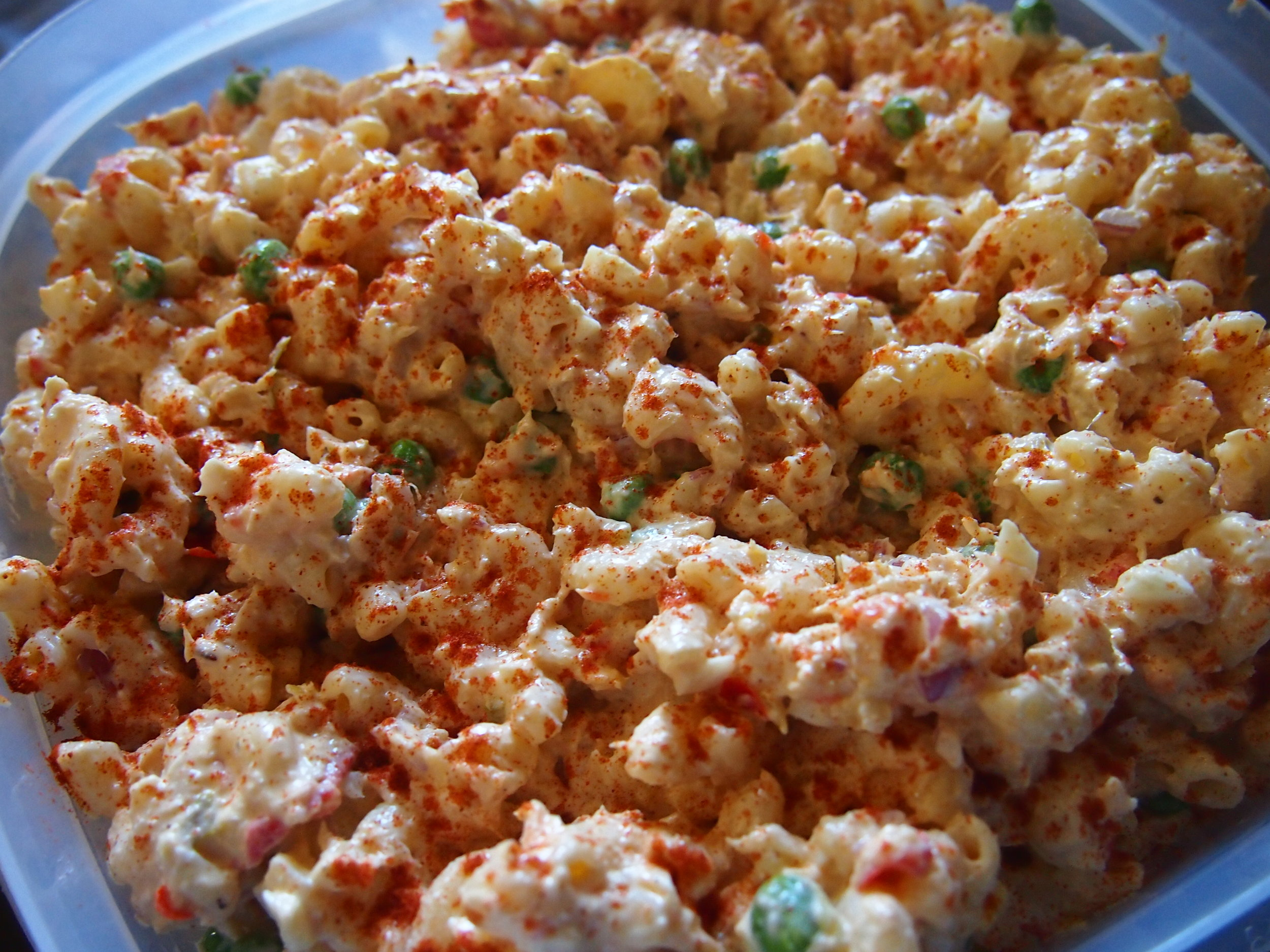 Macaroni Salad with tuna and smoked trout.