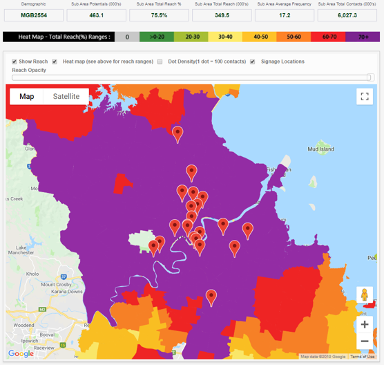 MOVE Heat Map showing ODNA's network reach of over 75% of Main Grocery Buyers in Brisbane aged 25-54.