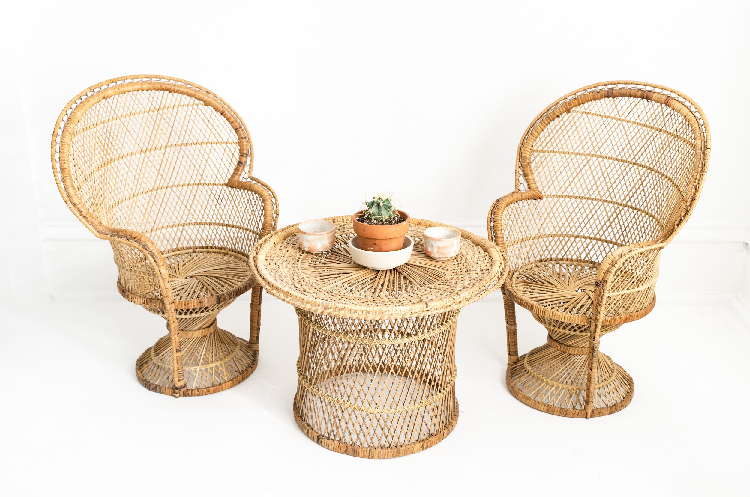 vintage kids rattan and wicker set -   $162 sold
