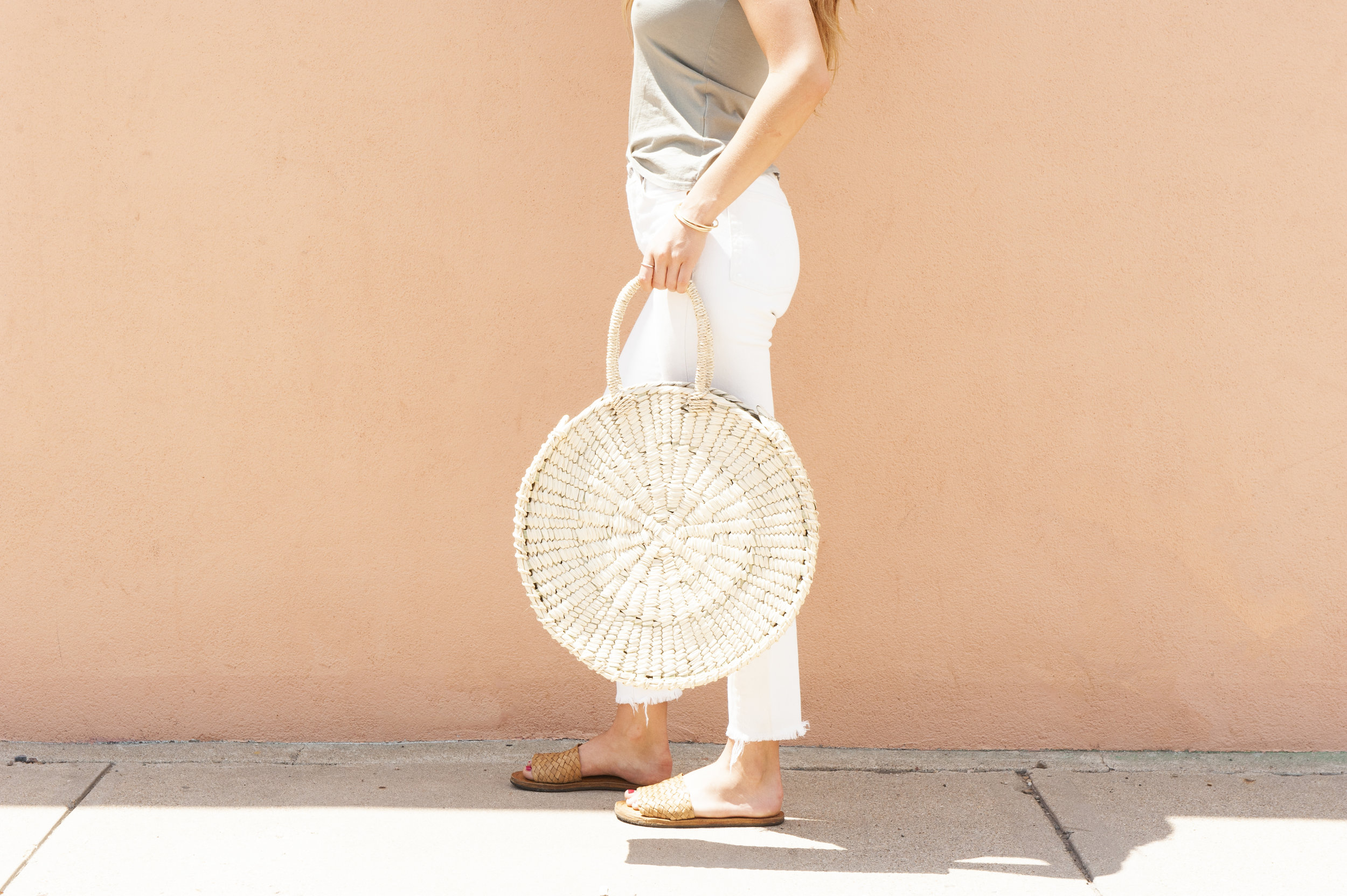 Handwoven Round Palm Bag - on sale 30%