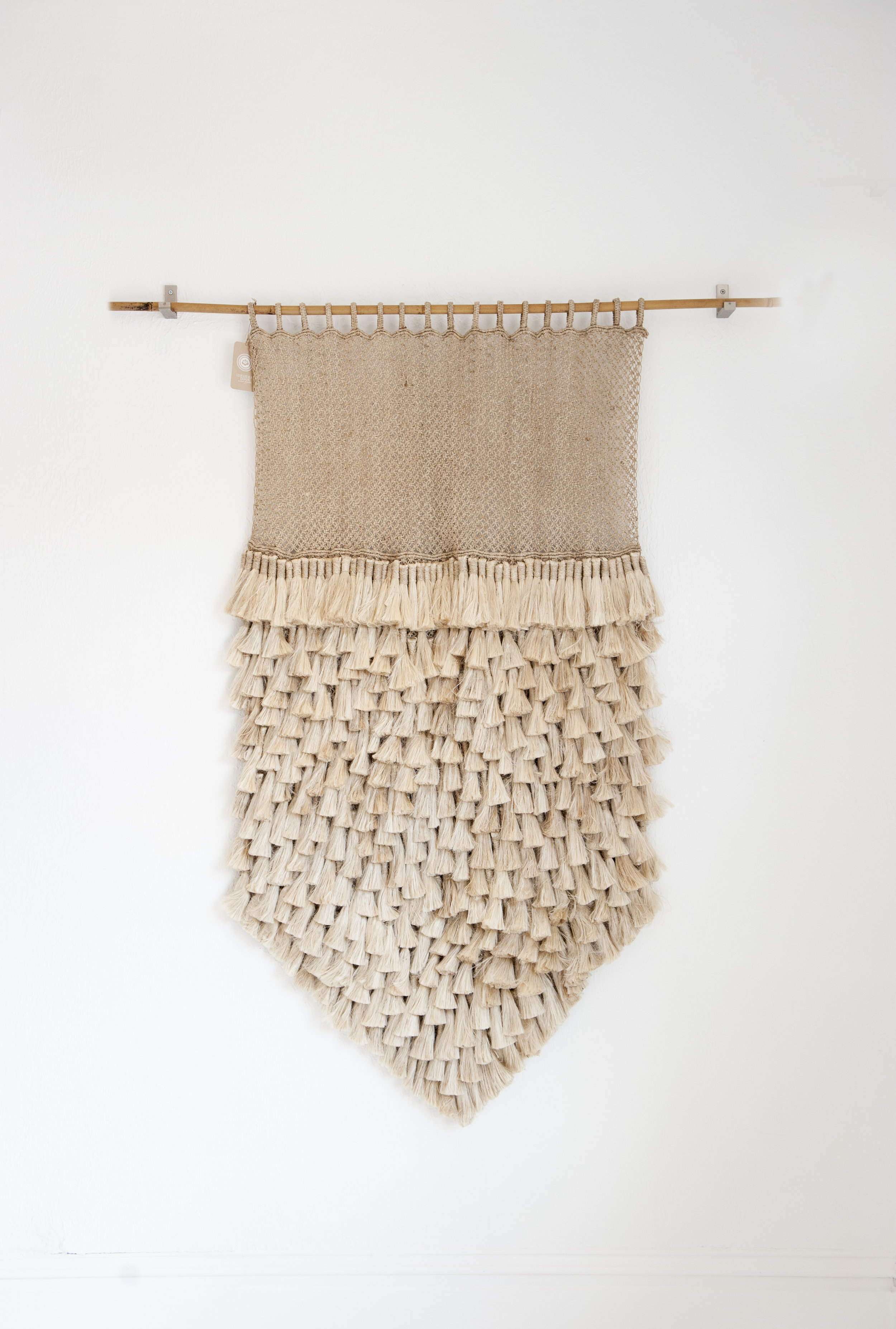 "Large Natural Jute Macrame Wall Hanging $500  dimensions: 57"" high x 40"" wide"