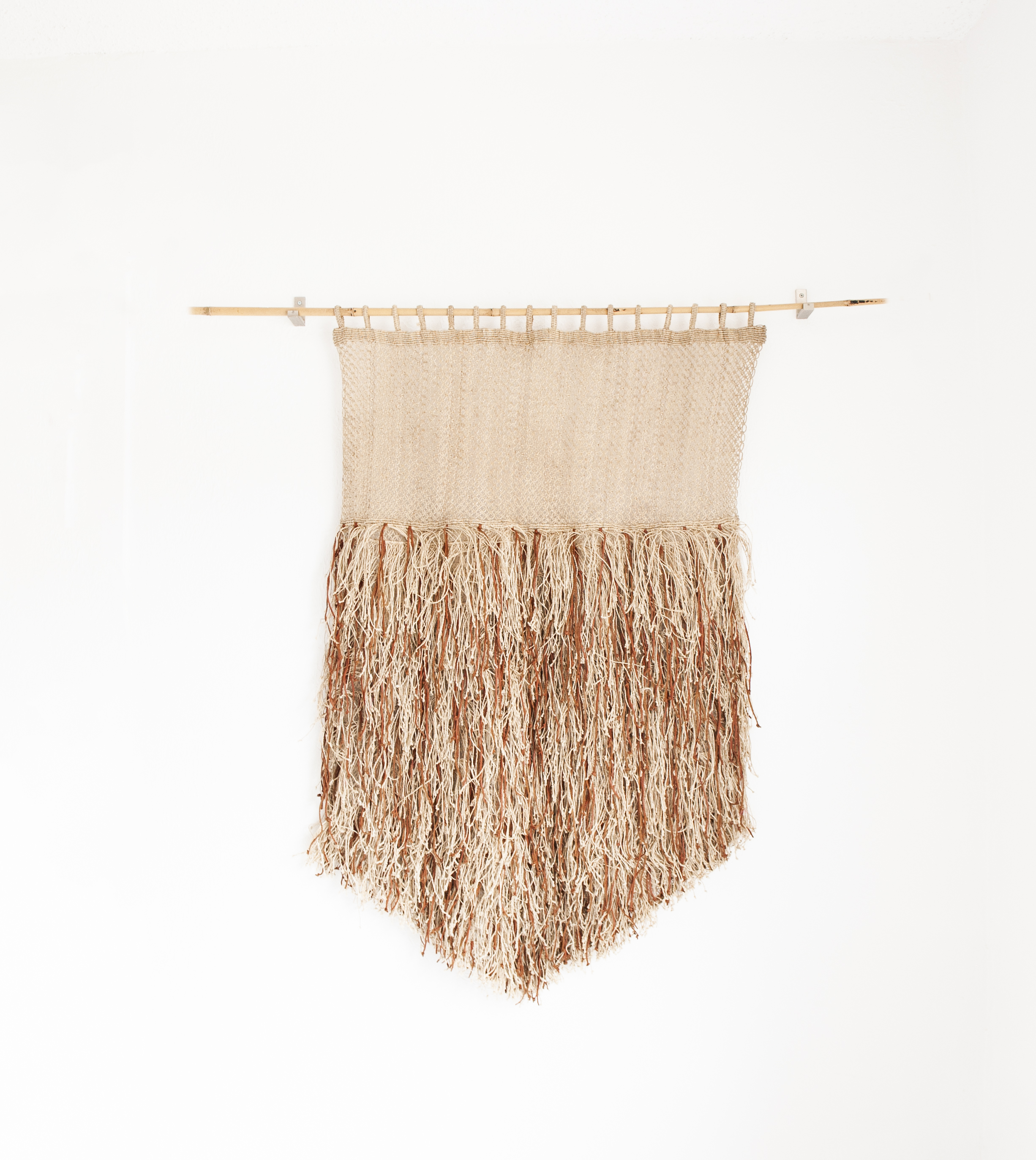 "Fringe & leather wall hanging dimensions: 57"" high x 40"" $350/20% off"