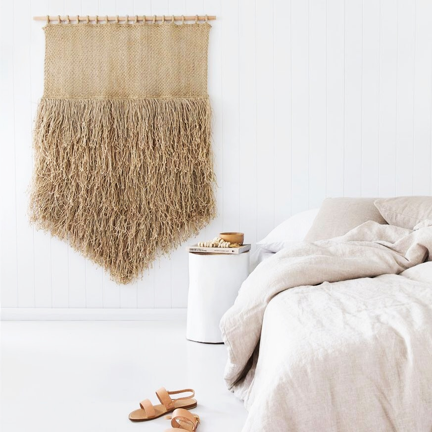 "natural jute fringe wall hanging dimensions: 57"" high x 40"" wide $350/20%off"