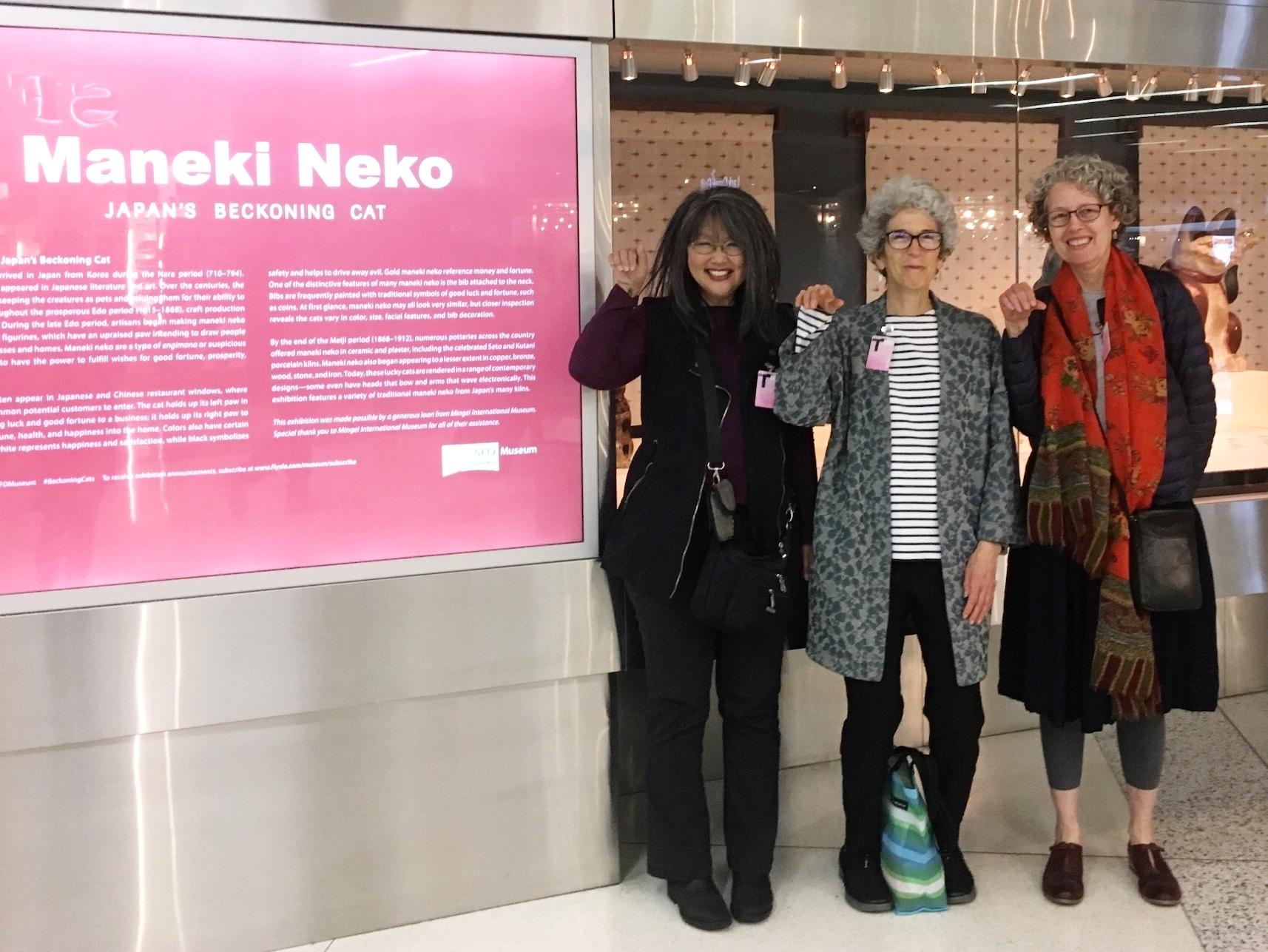 Maneki Neko  exhibition at SFO Airport Museum. Pictured: C.K.Itamura, Alyson Kuhn and Linda Smith. Photo by Belinda Li.