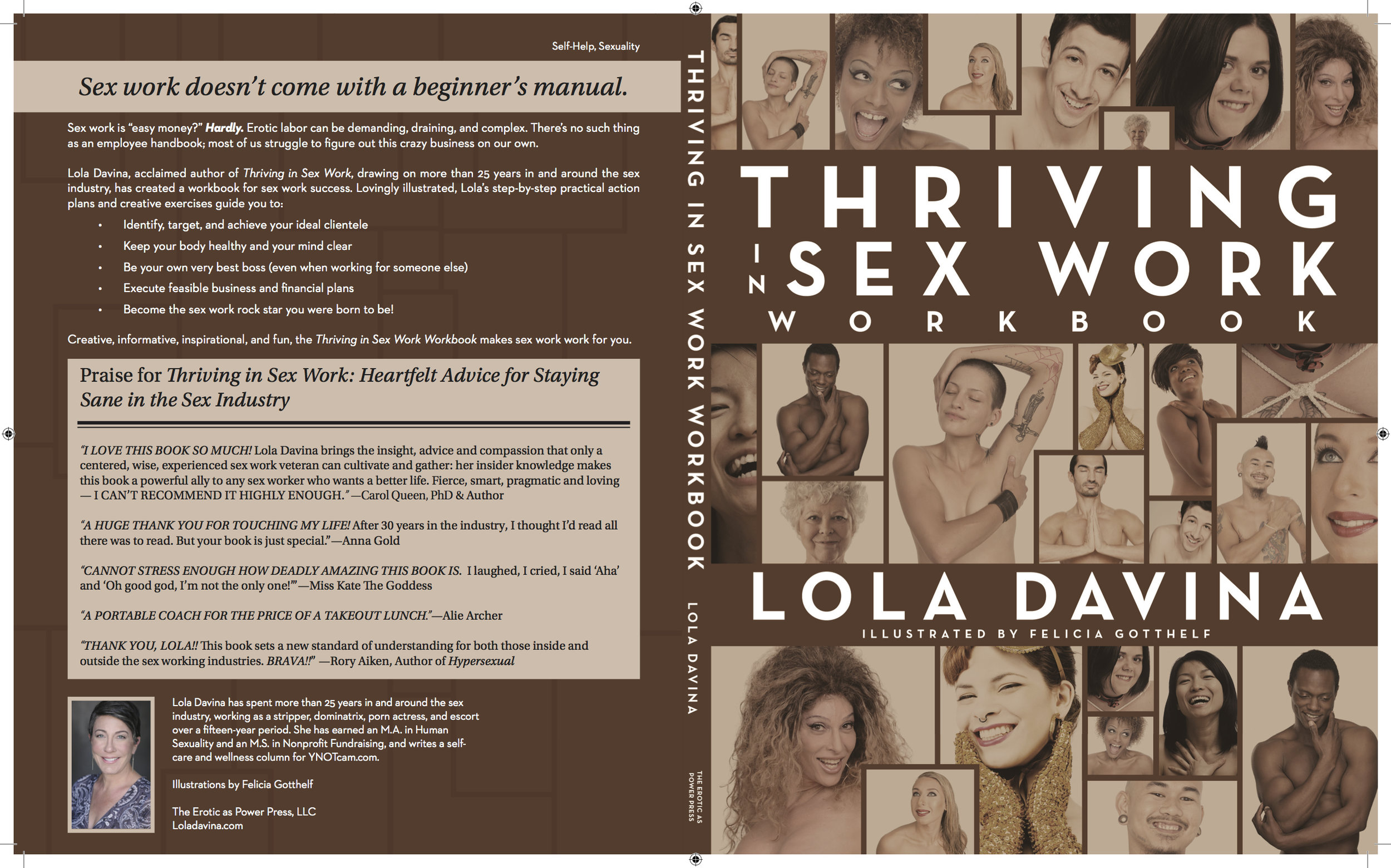 Front & Back Covers of  Thriving in Sex Work Workbook ; Design by Albert Ochosa.