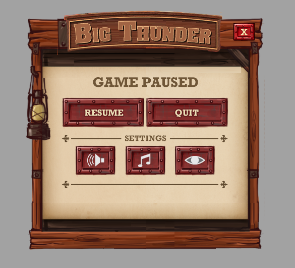 Concept UI visual design for Big Thunder Mountain mini-game