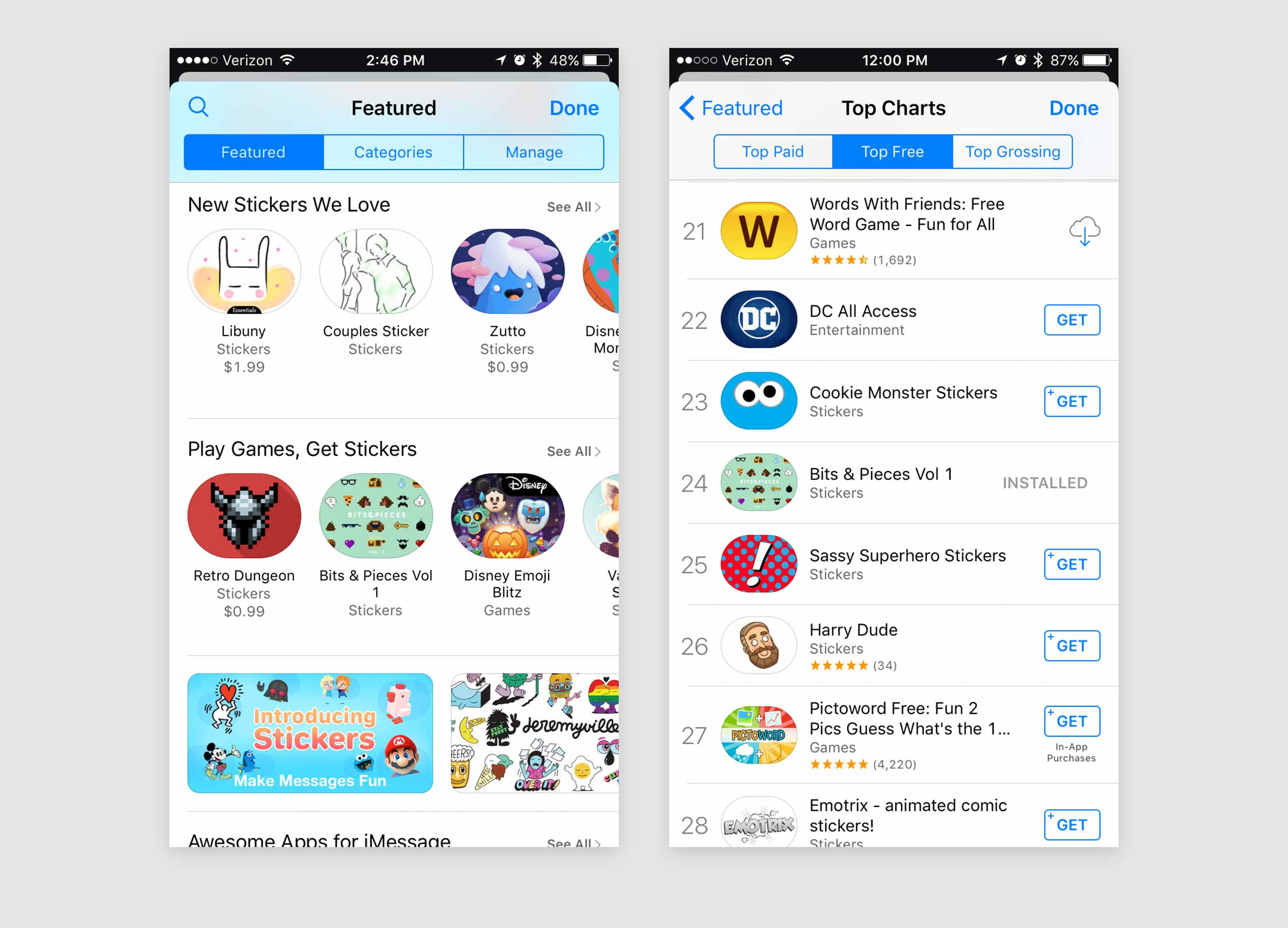 Featured in a Games themed section on the home page, my sticker pack climbed it's way up into the top 25 charts.