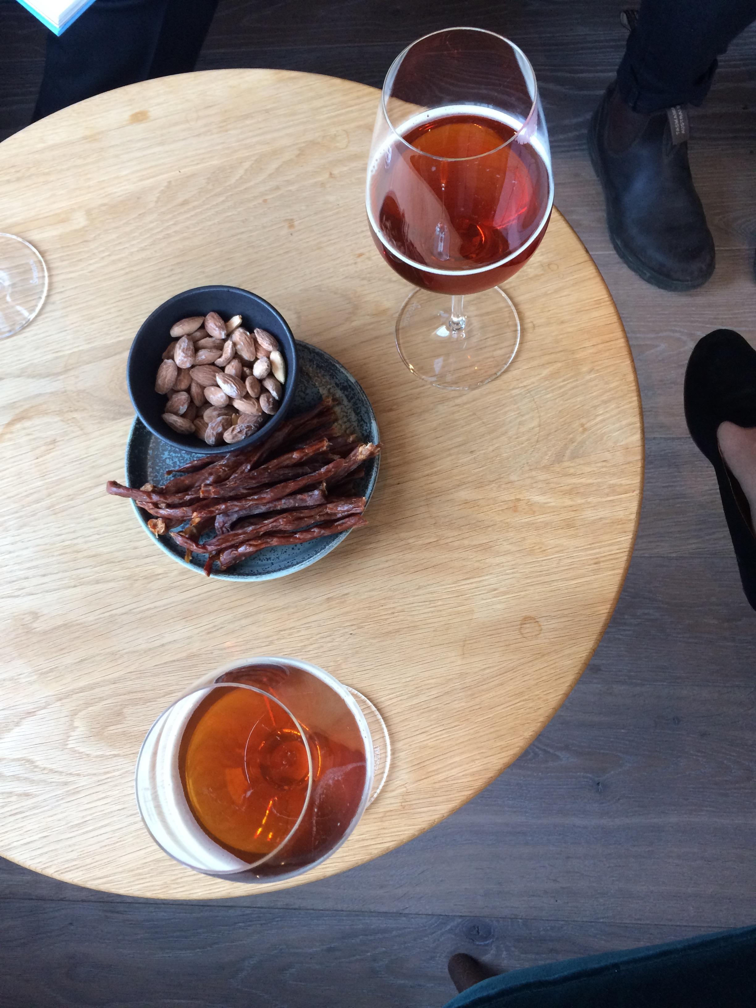 Pre-dinner beer and snacks at Hotel Nordlandet