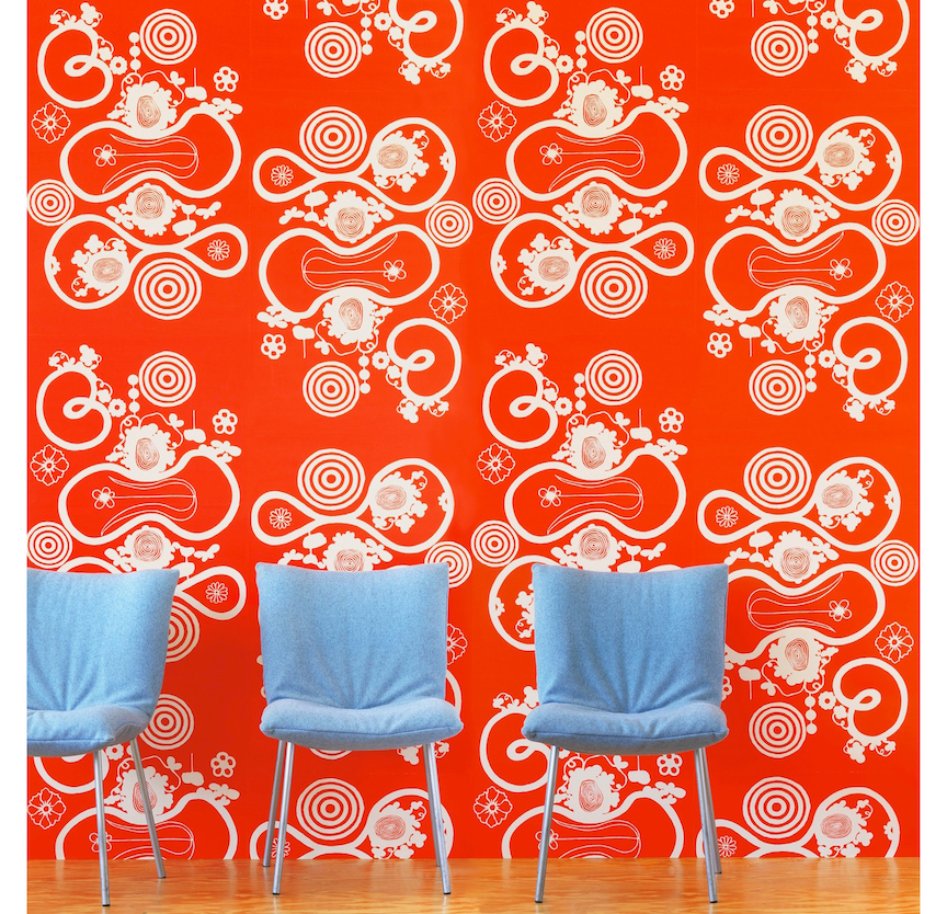 """Nama Rococo wallpaper """"little butterfly loop"""" in Chinese red."""