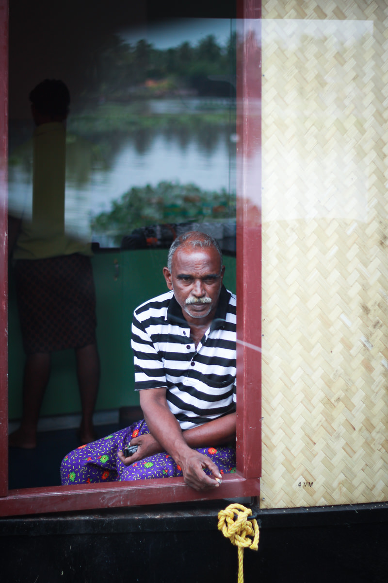 Passing houseboat, Alleppey, August 2012