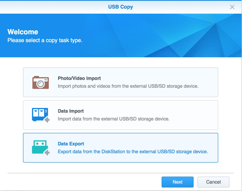 Create new USB Copy task