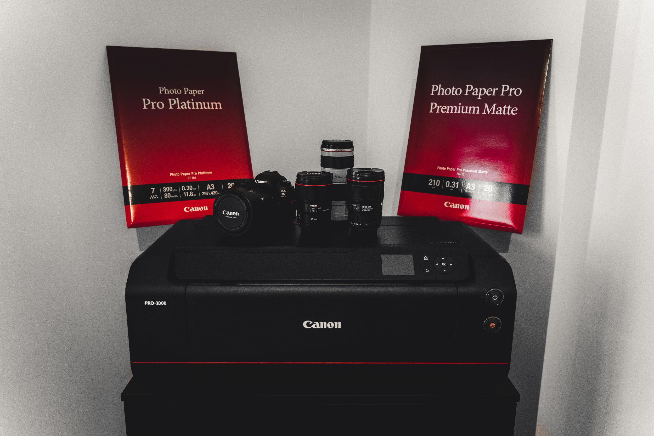 Canon imagePROGRAF PRO-1000 & Canon photo papers Pro Platinum and Pro Premium Matte