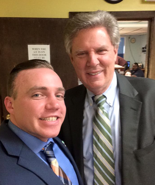 Joel and Congressman Frank Pallone after they both spoke at a press conference about new legislation focused on substance use disorders.