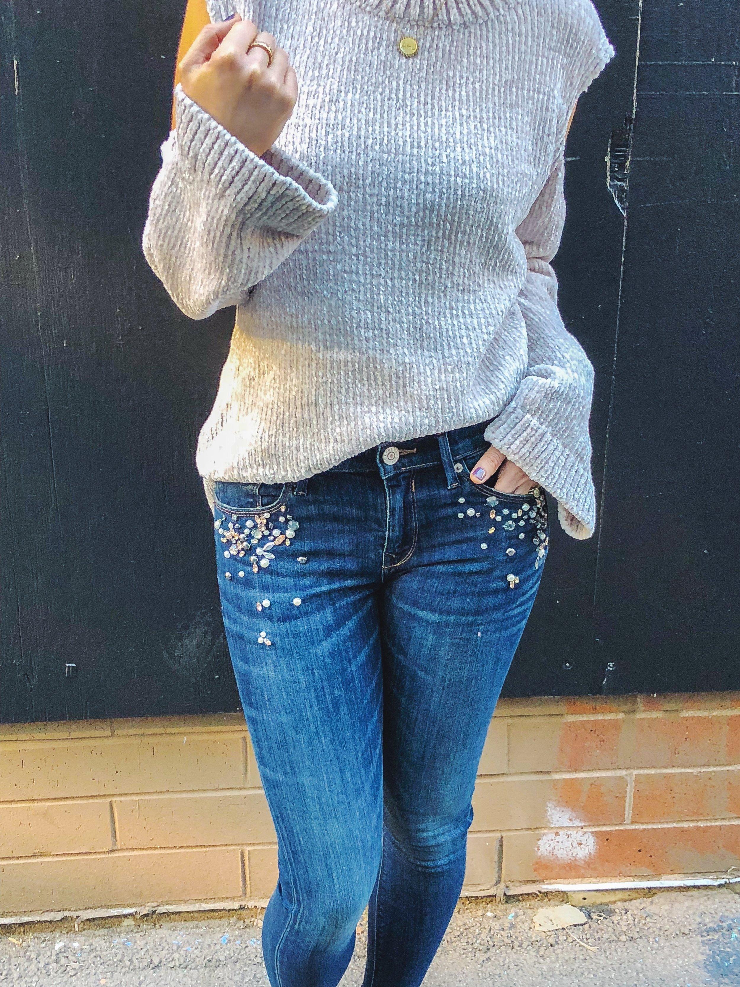 jewel studded crop jeans