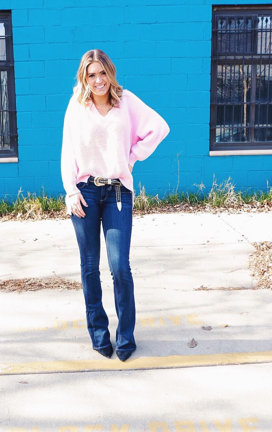 oversized v-neck sweater,   b-low the belt studded belt, paige jeans