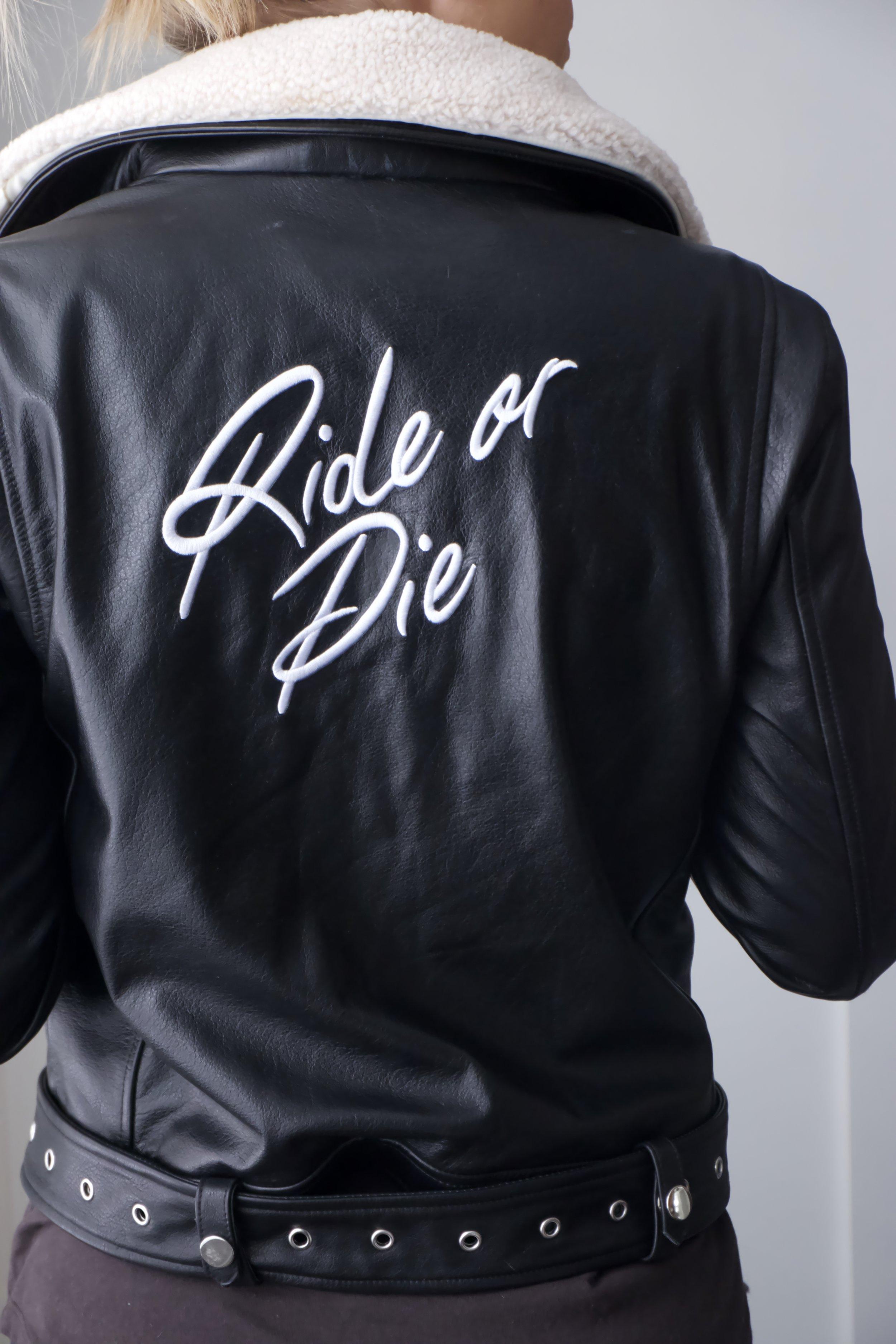 "type alpha leather ""ride or die"" jacket"