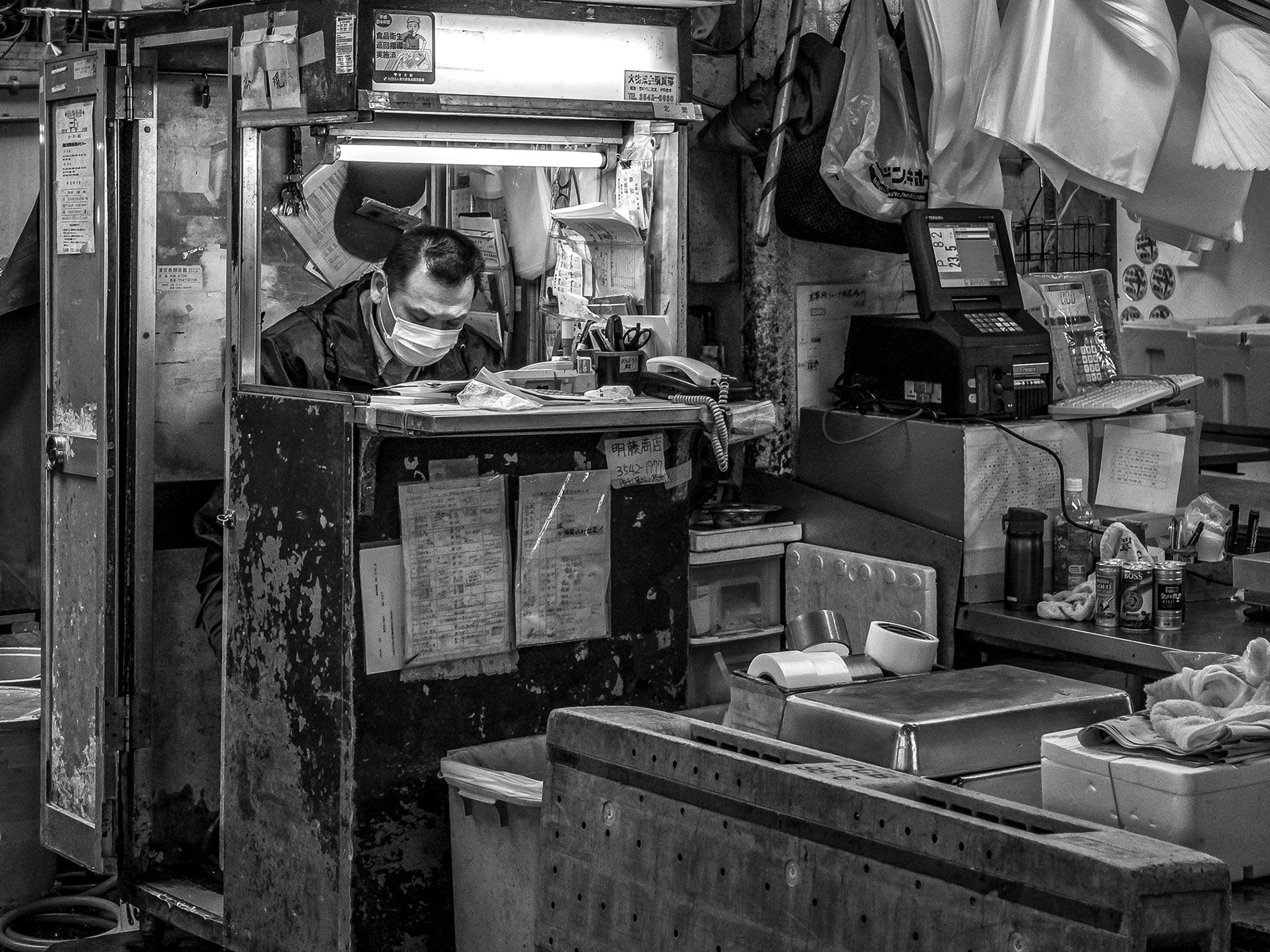 Book keeper - Tsukiji fish market, Tokyo