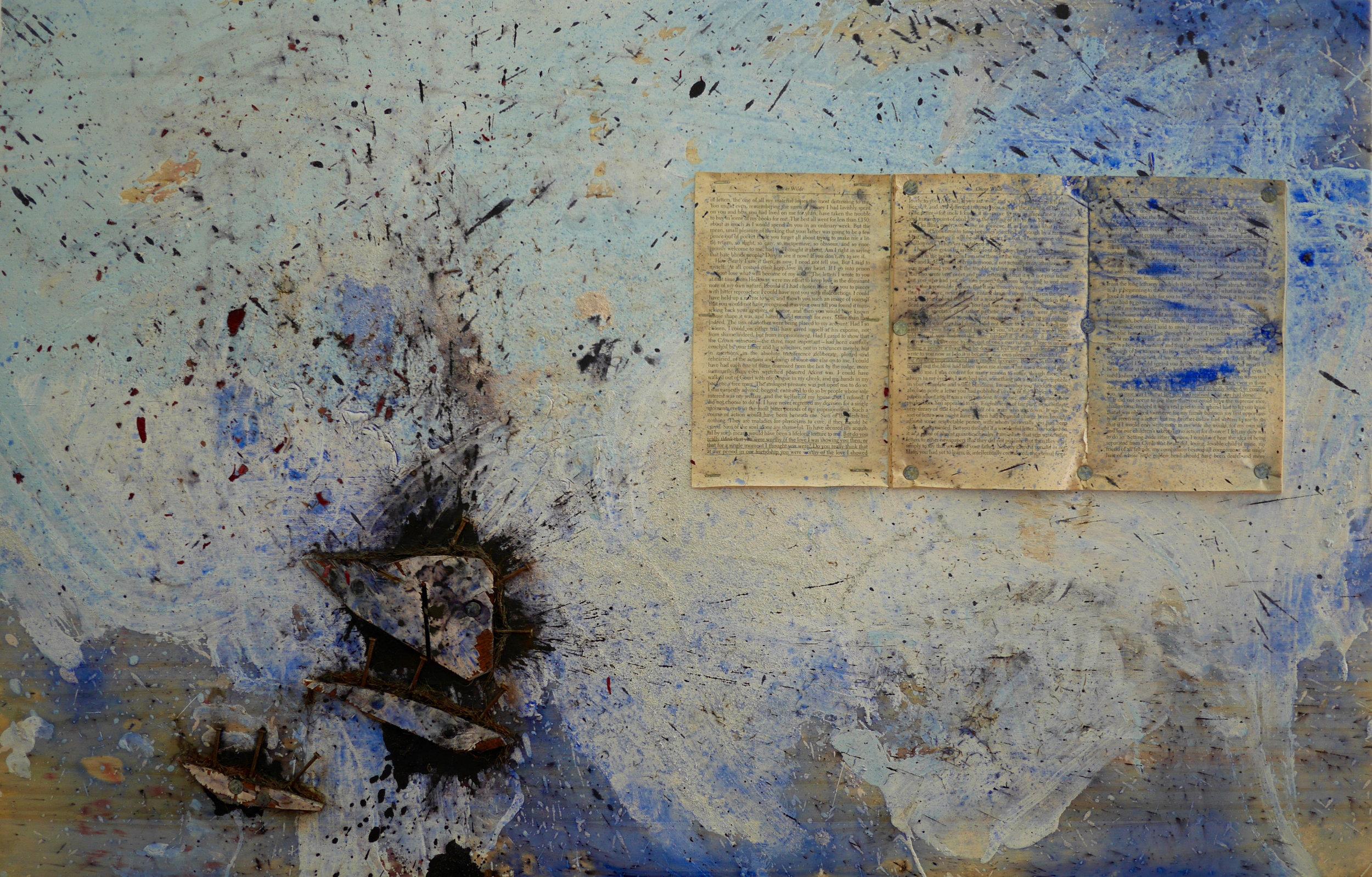 "Number 6 - Your Own Silence  24"" x 32""  ""De Profundis"", nails, wood, acrylic, milk, vinegar, salt, ink, white flour, steel wool, dye, steel wire, staples, rust, dirt, mold on wood  (2015)"