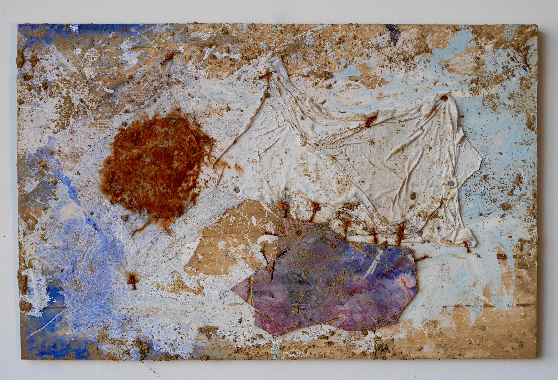 "Number 8 - Hidden, Sleeping  24"" x 32""  Lace handkerchief, steel wool, white t-shirt fabric piece, nails, wood, acrylic, milk, vinegar, salt, ink, dye, white flour, steel wire, staples, rust, dirt, mold on wood  (2015)"