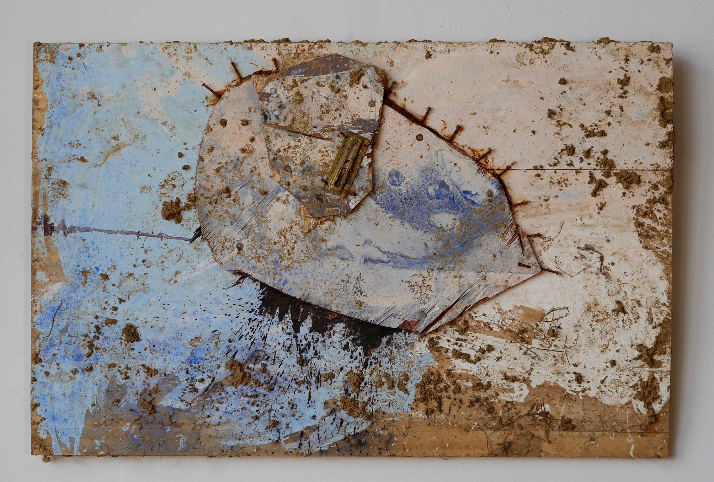 "Number 1 - The Opposite of Trying  24"" x 32""  Chain lock (half), steel wool, nails, wood, acrylic, milk, vinegar, salt, ink, dye, white flour, rust, dirt, mold on wood  (2015)"