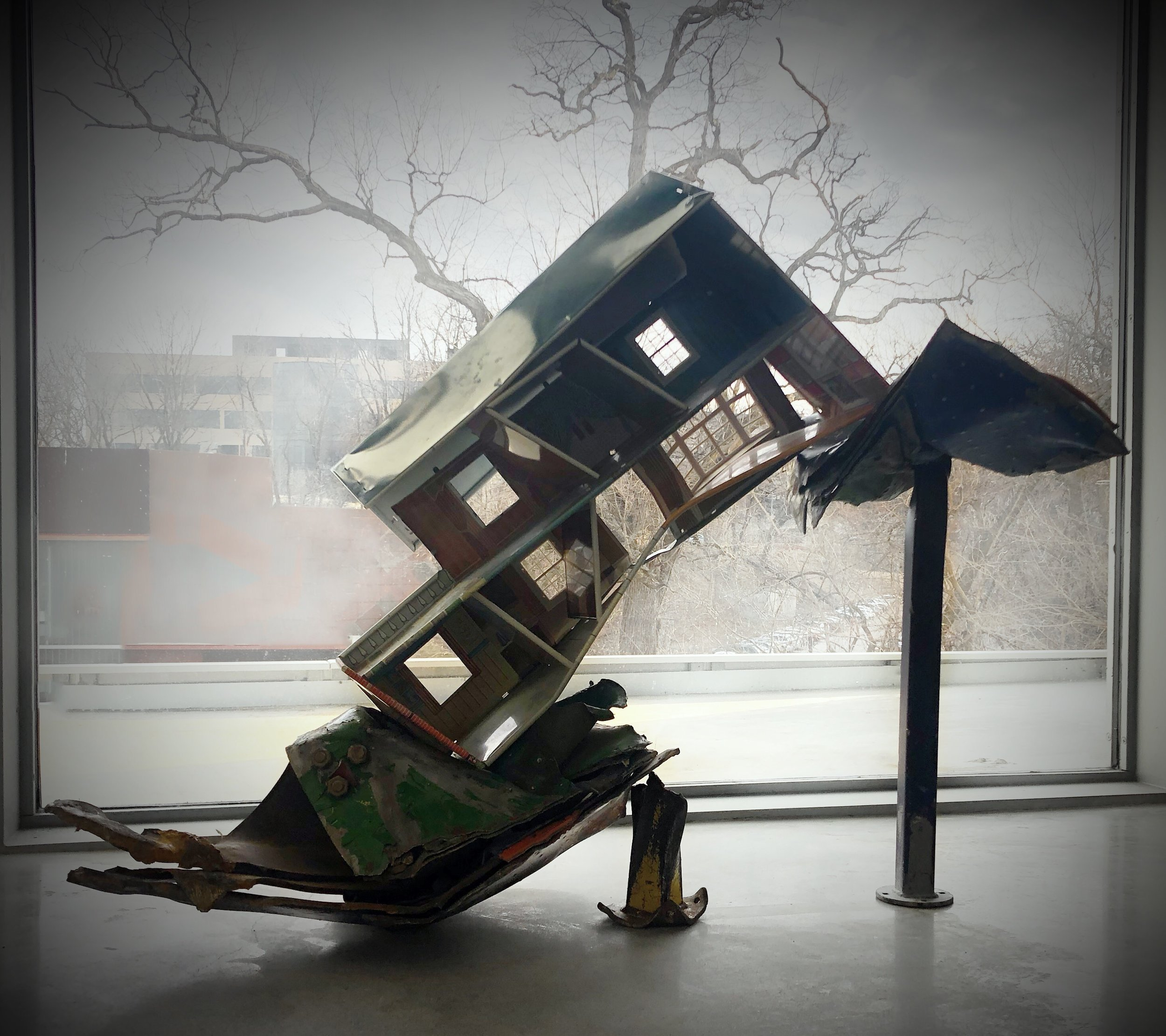 "Rescue Was A Long Way Off   12"" x 27"" x 42""  Manipulated metal playground staircase, structural steel, manipulated 1963 Marx Dollhouse (Tin)  (2019)"