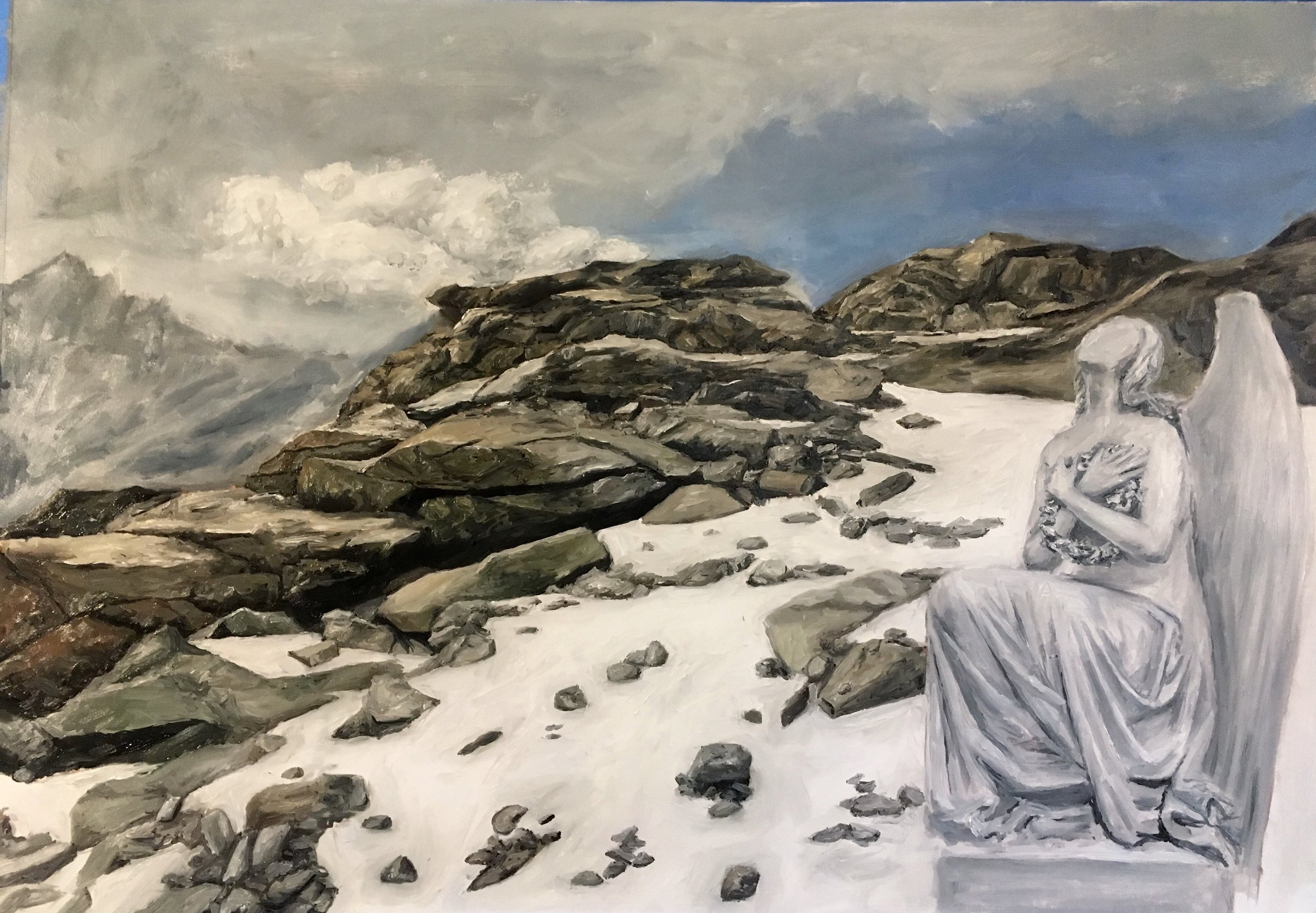 """""""I sent my angel to prepare the path before me and to let the stones know of my coming and for them to soften before my incomprehension"""" (Clarice Lispector)    oil on canvas, 2017"""