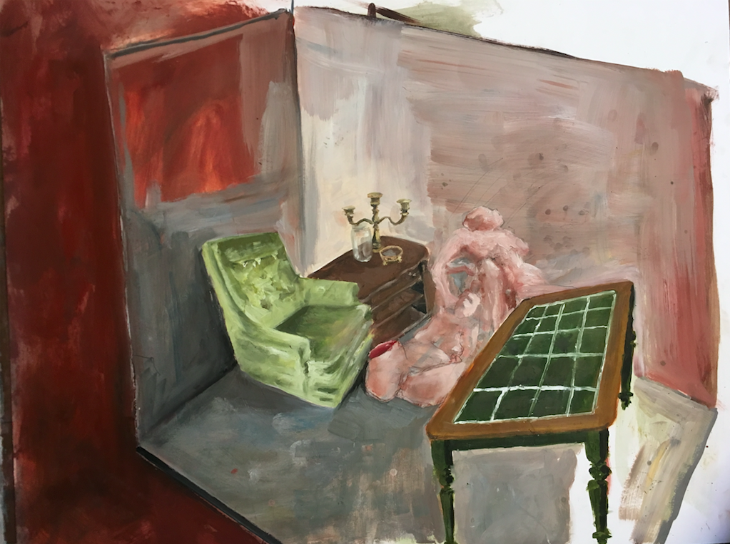 The Room    oil on paper, 2017