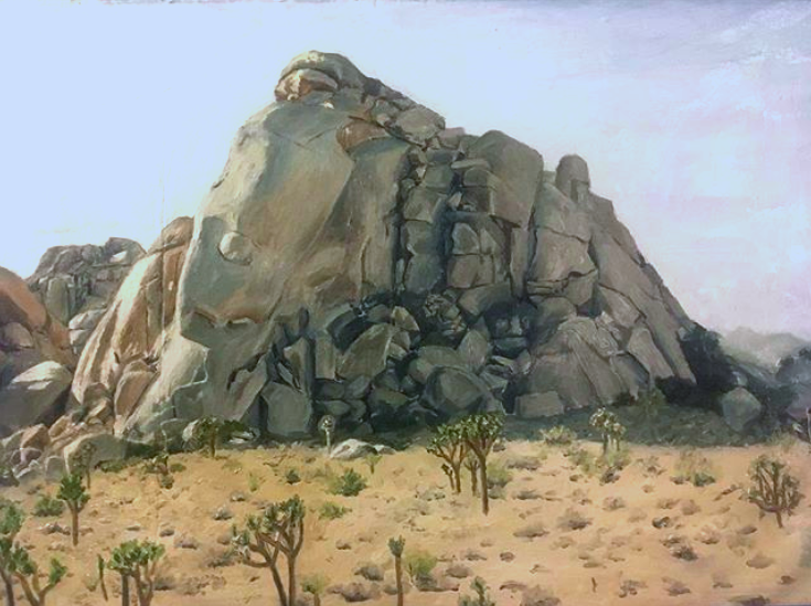 The Blue Rocks    oil on glue, 2017