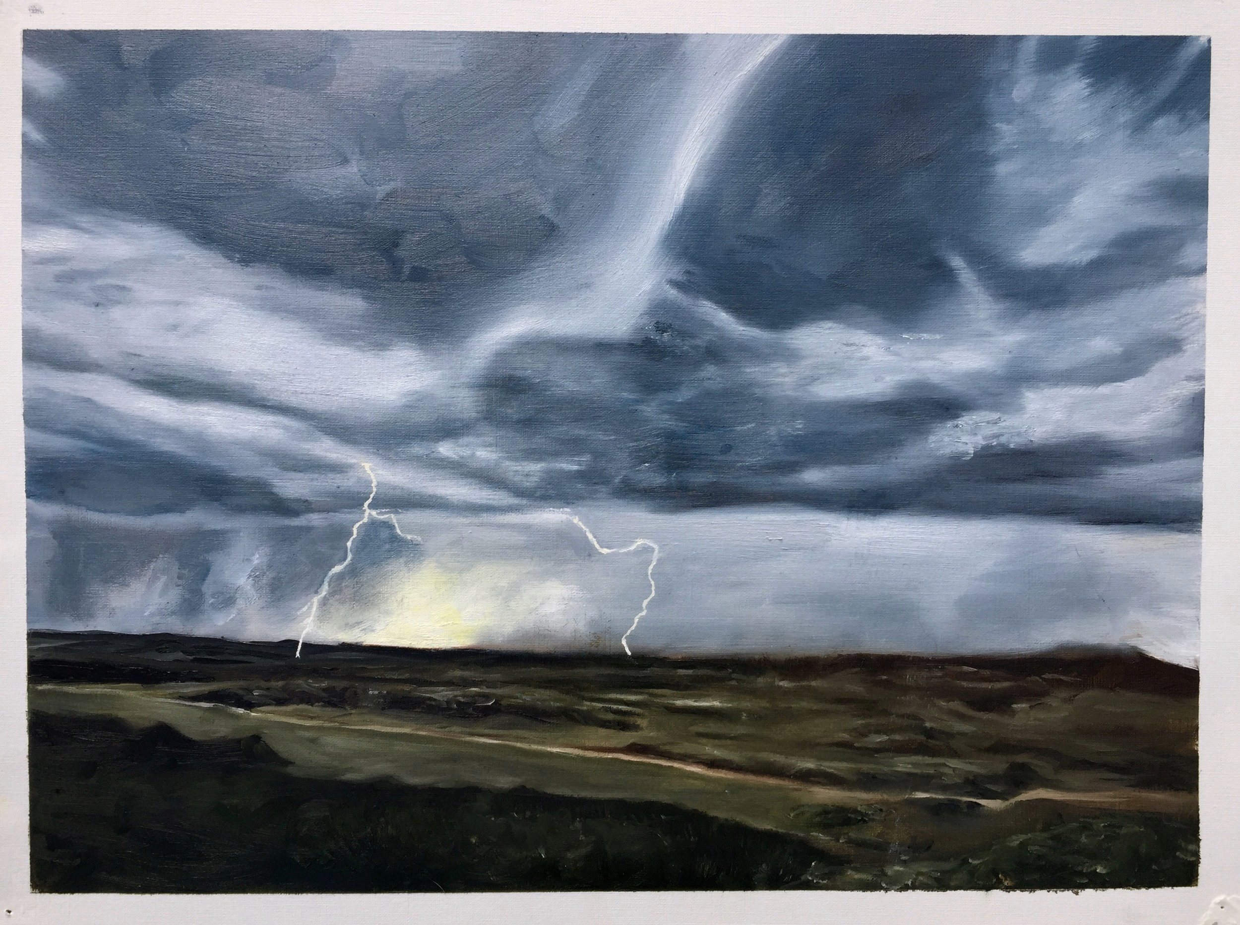 lightning scape    oil on canvas paper 20in x 15in    2019